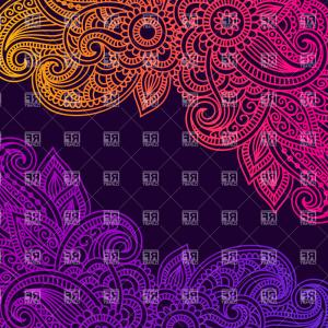 India Clip Art Vector Designs: Silver Mandala On Black Background Indian Pattern Vector Clipart