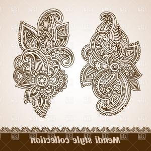 India Clip Art Vector Designs: Background With Ethnic Indian Tracery Mendi Style Border Vector Clipart