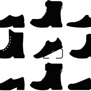 Sneaker Silhouette Vector: Mens Shoes Clipart Black And White