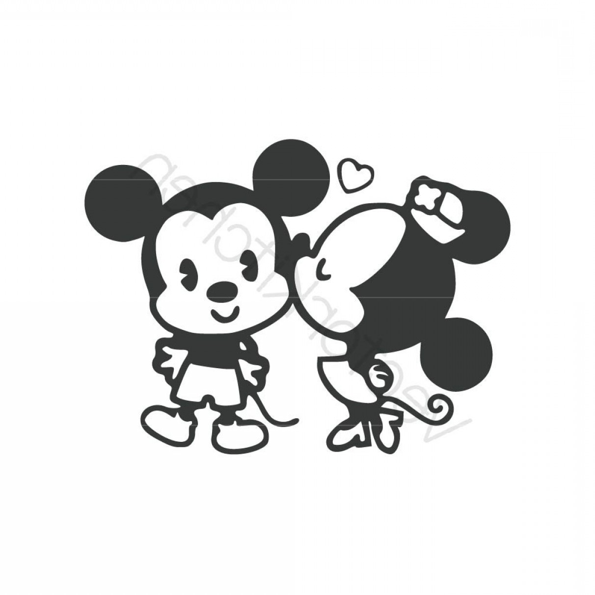 Minnie Vector Black And White: Mickey And Minnie Silhouette Vector