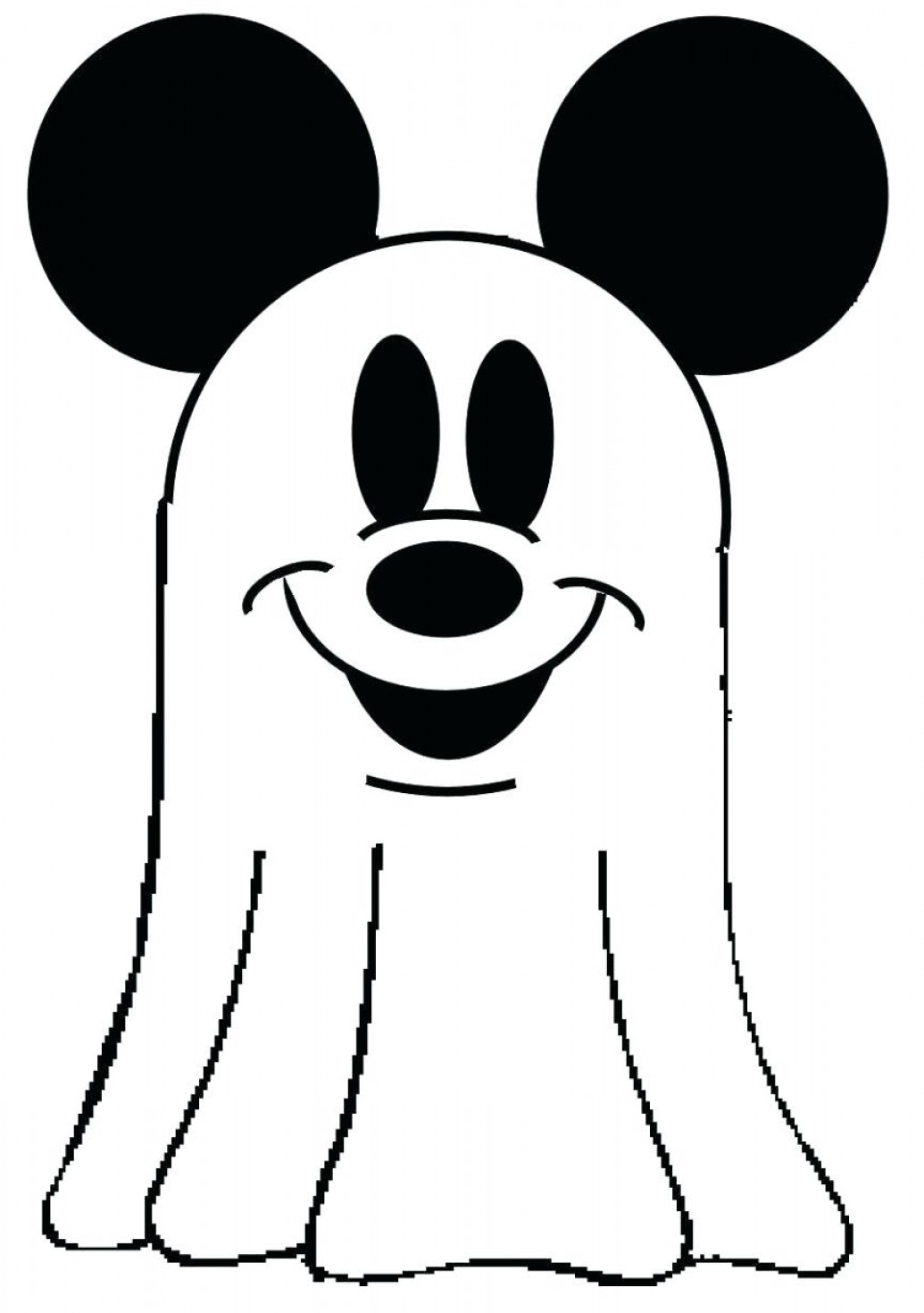 Mickey Mouse Ears Printable Coloring Pages Ghost Free Outline Large ...