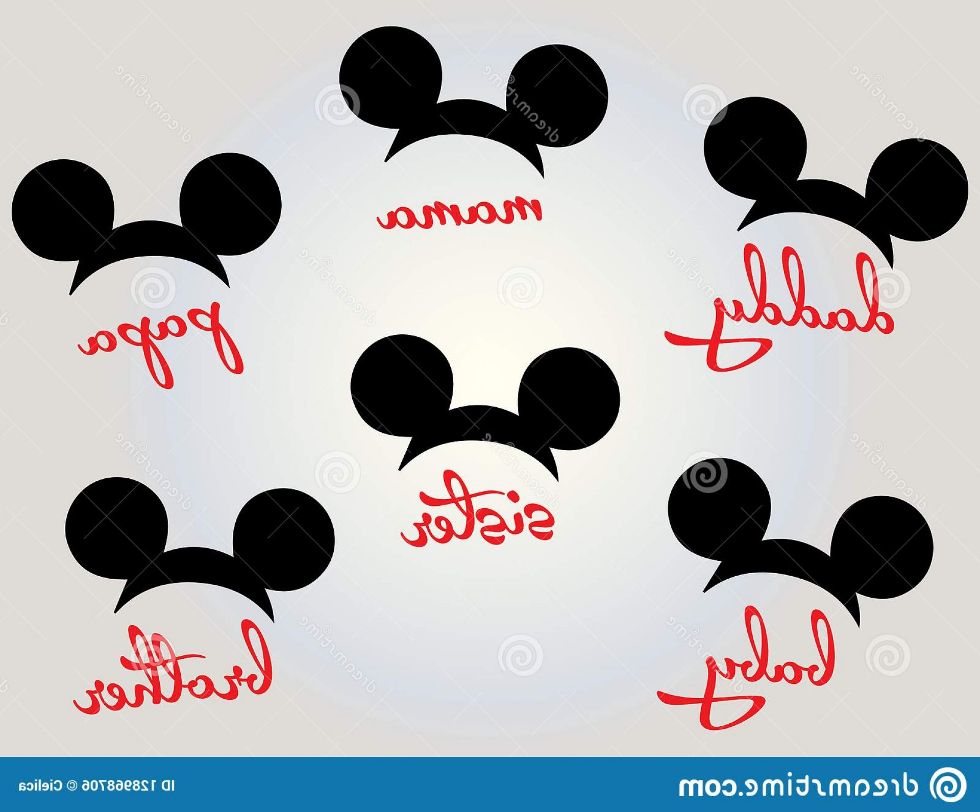 Minnie Mouse Head Vector: Mickey Mouse Minnie Head Family Vector Image Cutting File Plotters Eps Png Dxf Svg Animal Vectors Zigzag Chevro Image