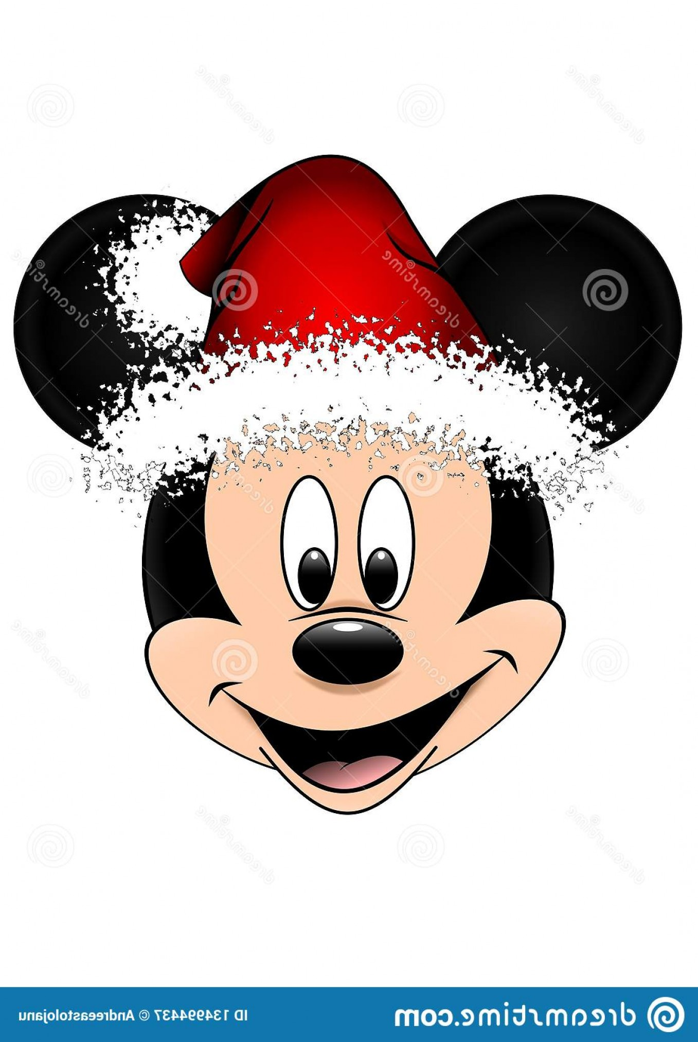Vector Mickey Mouse Christmas: Mickey Mouse Vector Face Who Laughs Ith Christmas Hay Santa Claus Version Isolated White Background Closeup Colored Disney Image