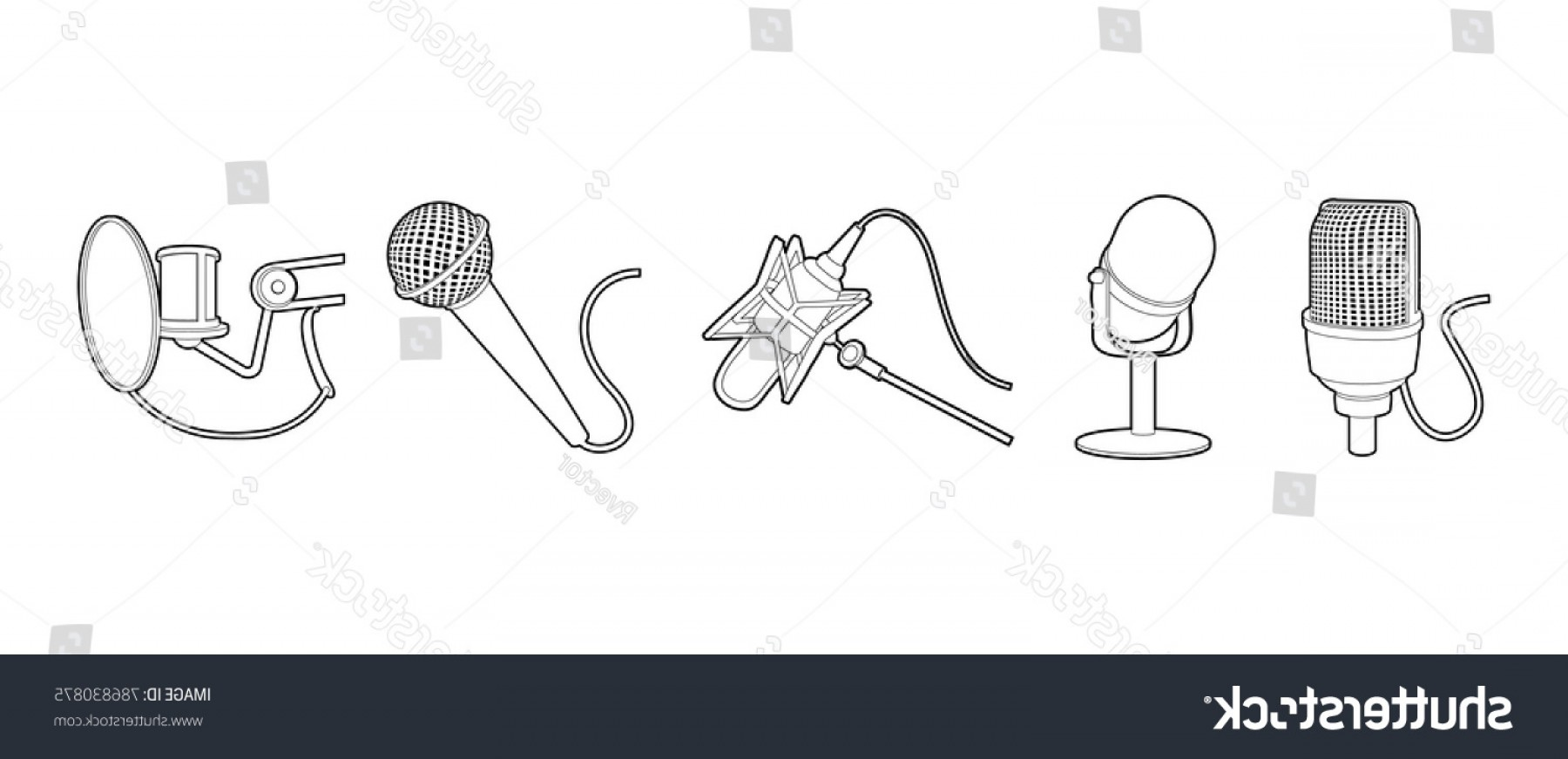 Mics Vector Designs: Microphone Icon Set Outline Vector Icons