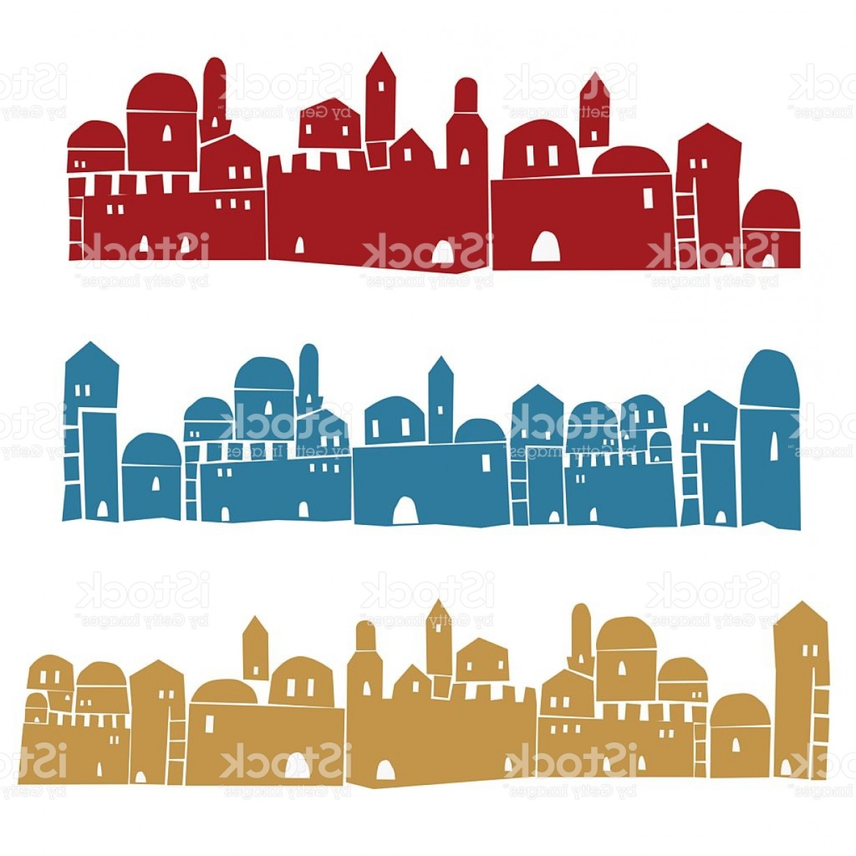 City Vector: Middle East Town Holy City Vector Illustration Gm