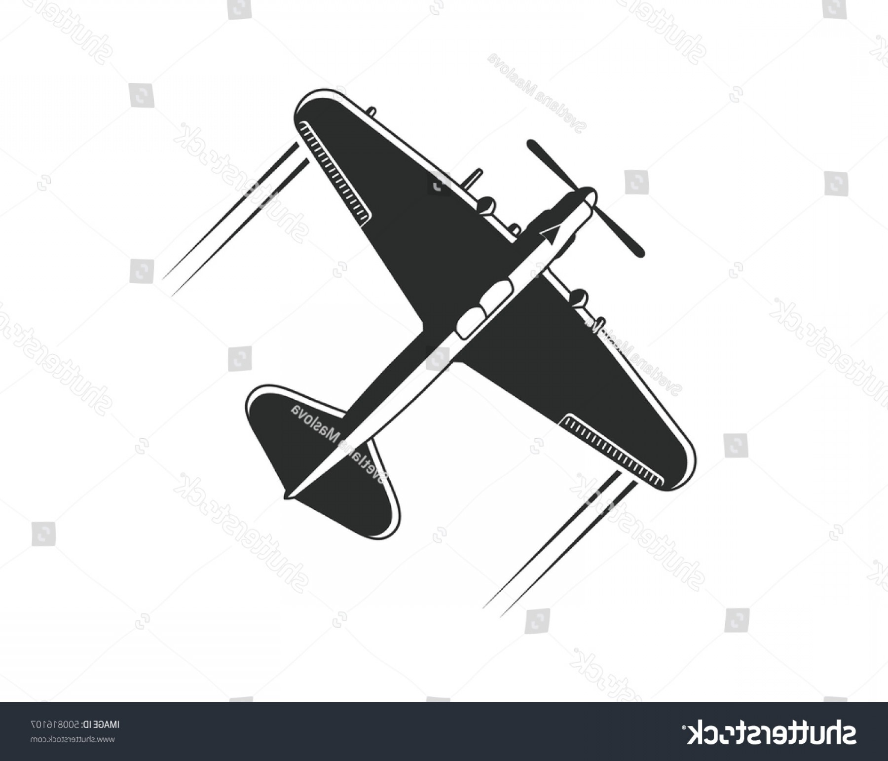 Old School Airplane Fighter Silhouette Vector: Military Aircraft Il Vector Airplane Silhouette