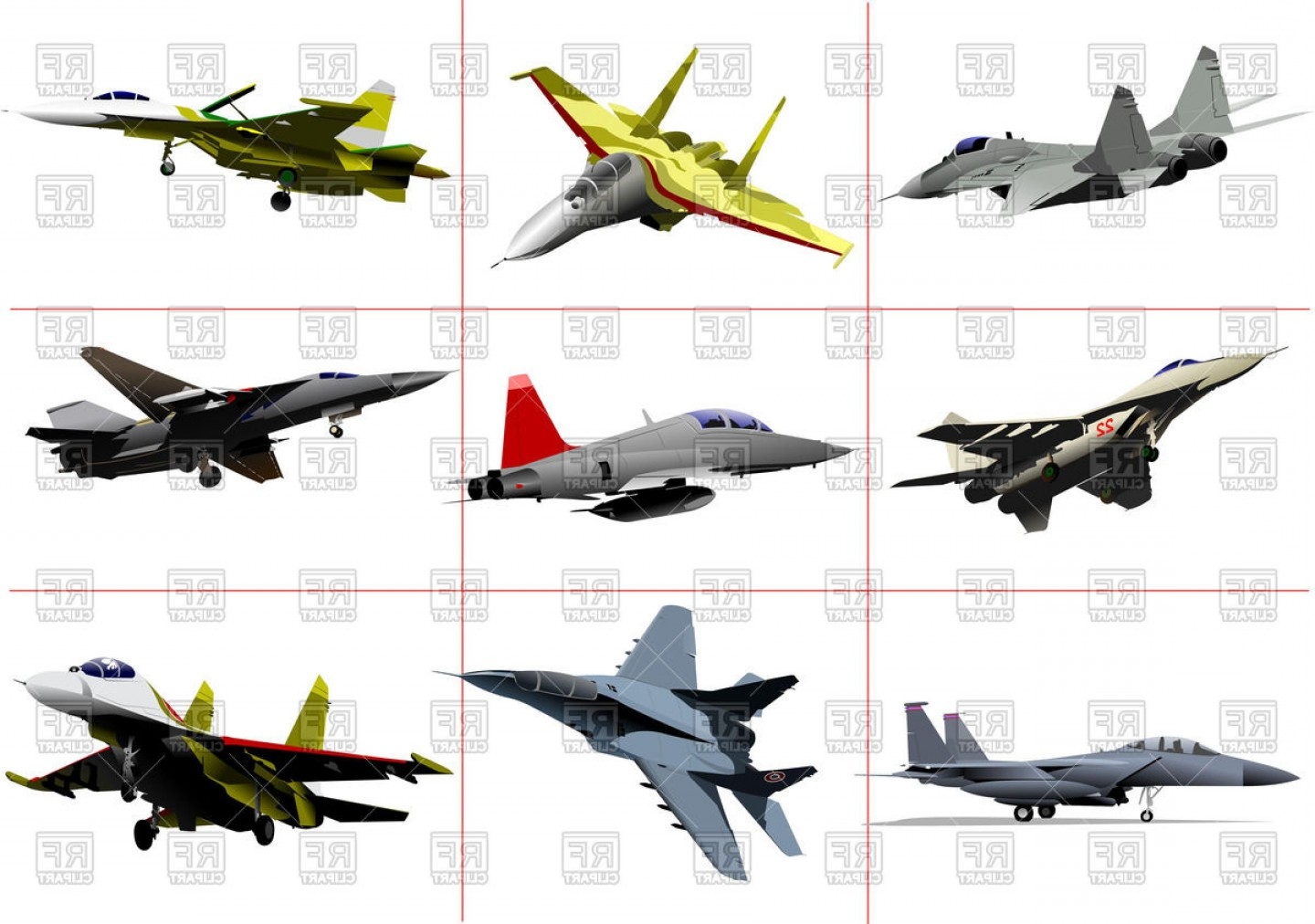 Vector Jet Fighter: Military Aviation Jet Fighters Vector Clipart