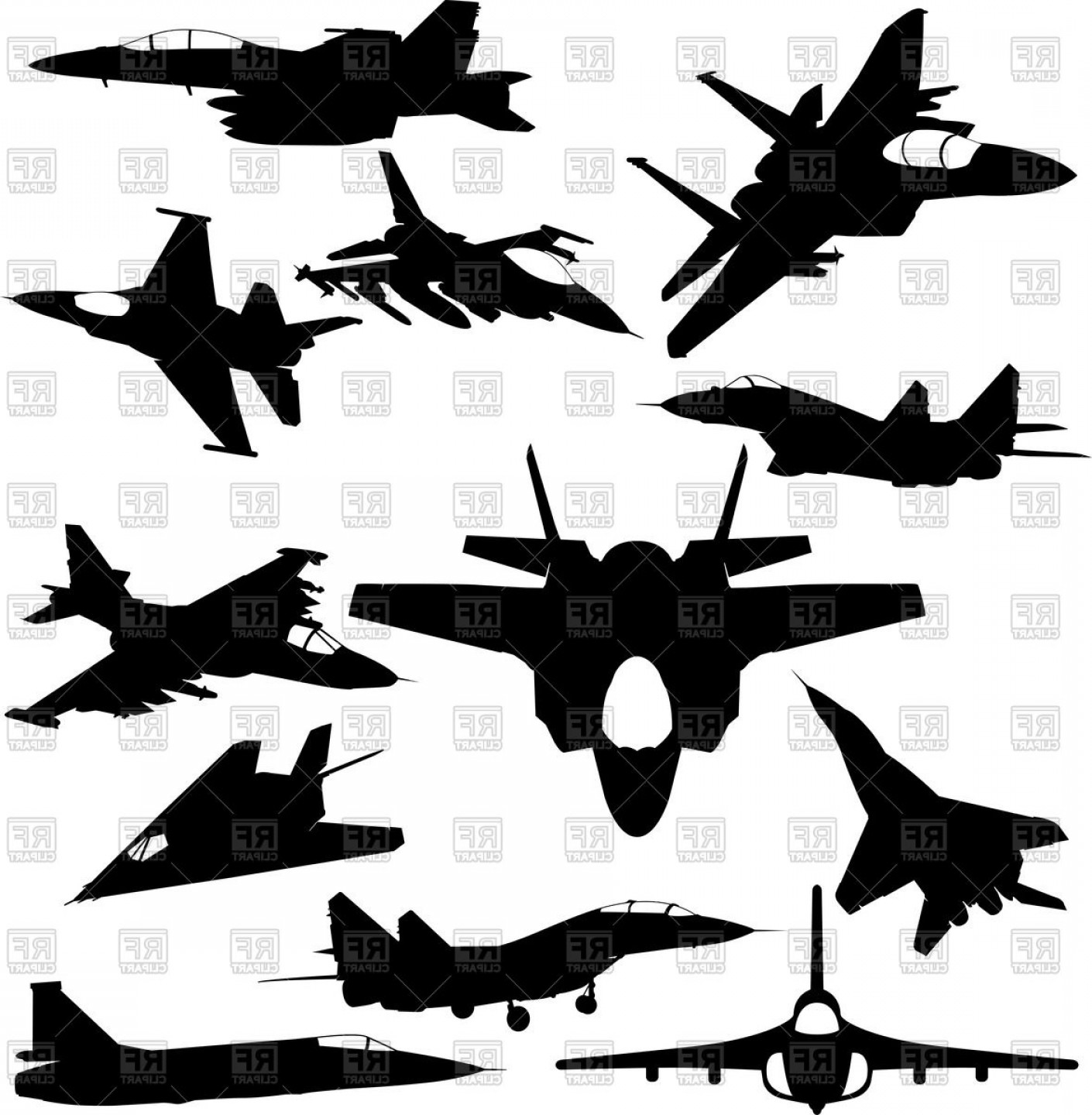 Vector Jet Fighter: Military Jet Fighter Silhouettes Vector Clipart
