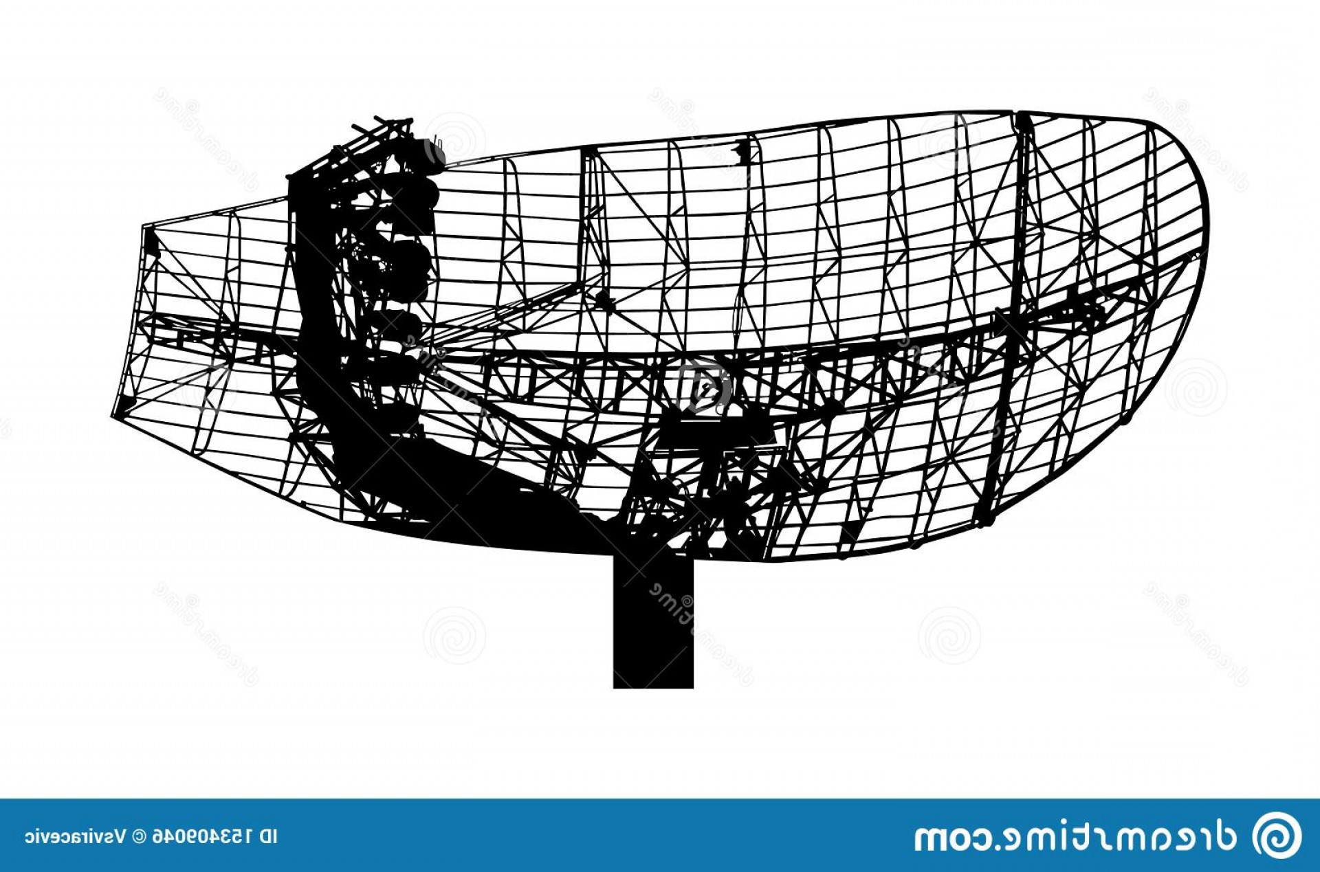 Digital Vector Silhouette: Military Radar Air Surveillance Vector Silhouette Isolated White Background Telecommunication System Digital Antenna Military Image