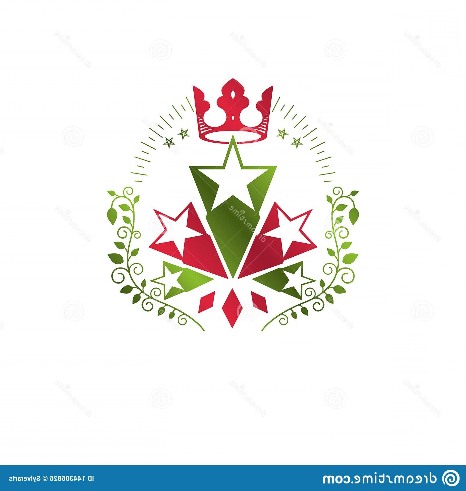 Heraldic Vector Ornaments: Military Star Emblem Created Royal Crown Floral Ornament Heraldic Vector Design Element Stars Guaranty Insignia Military Image