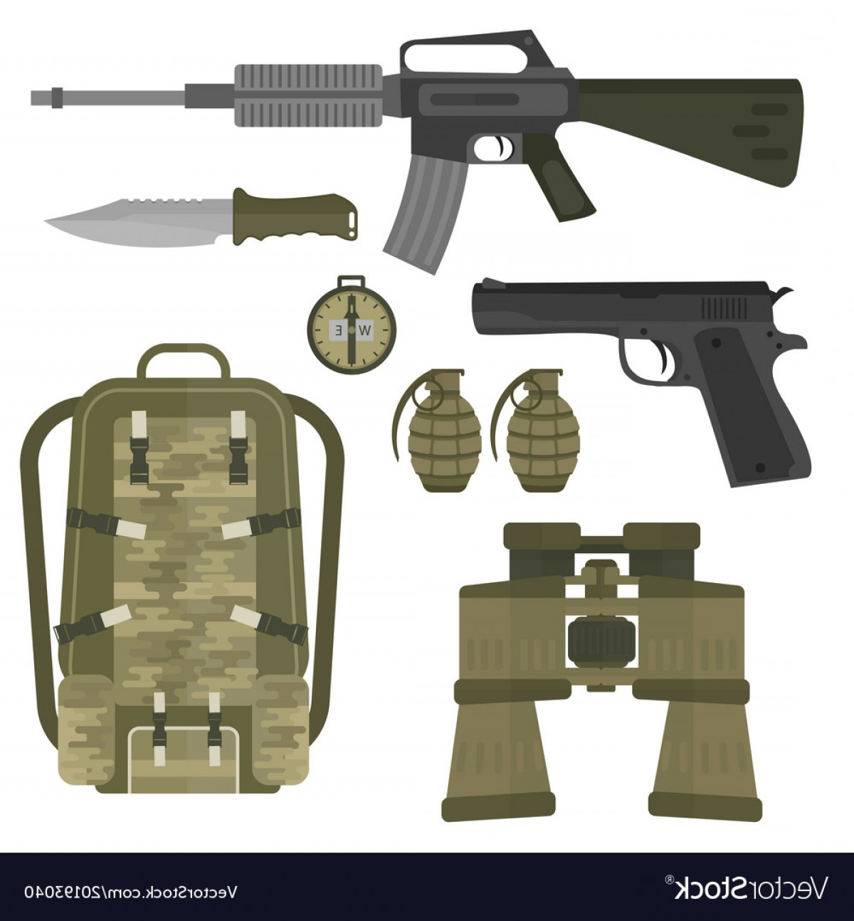 American Gun Vector: Military Weapon Guns Armor Forces American Fighter Vector