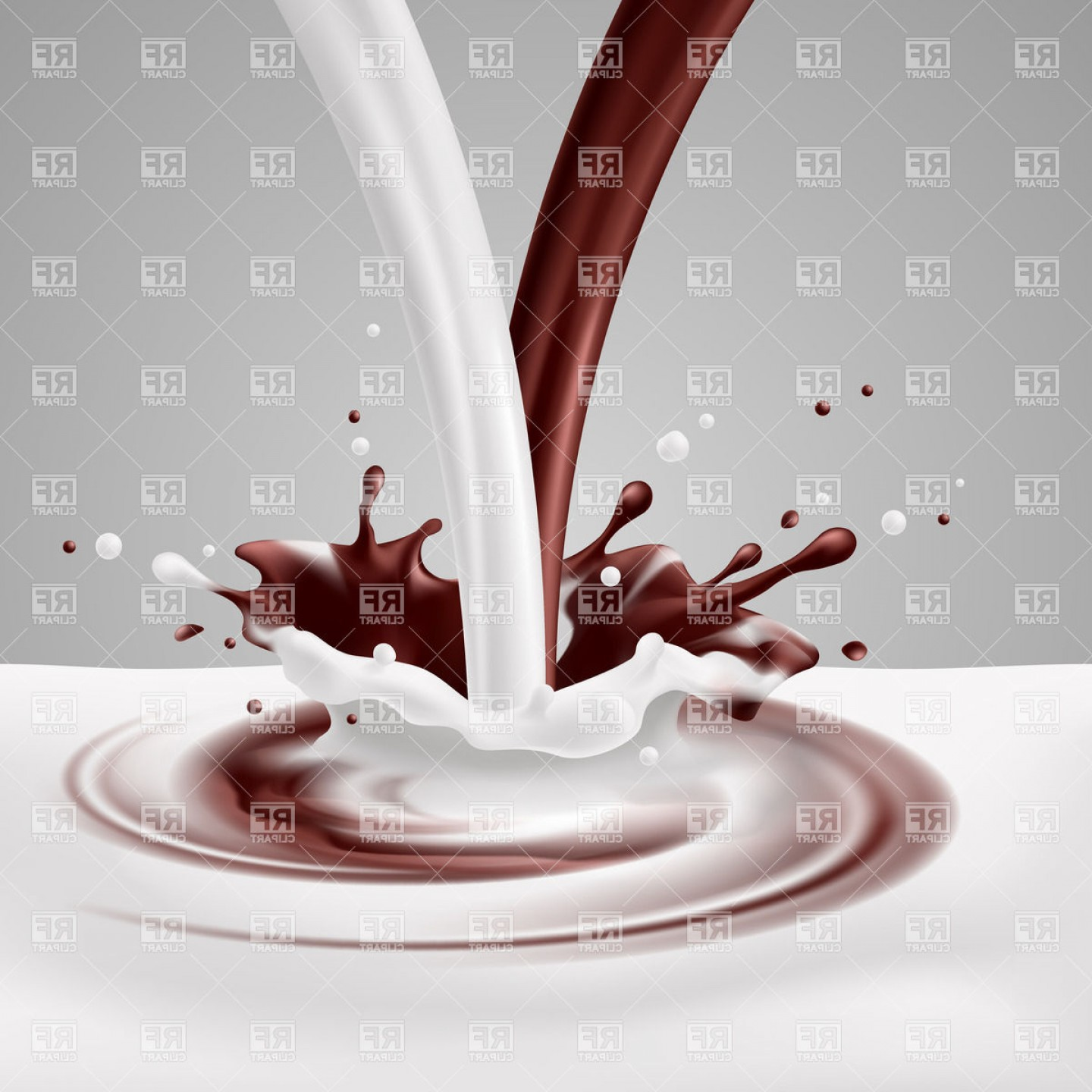 Chocolate Clip Art Vector: Milk And Chocolate Pour Mixing With Splashes Vector Clipart
