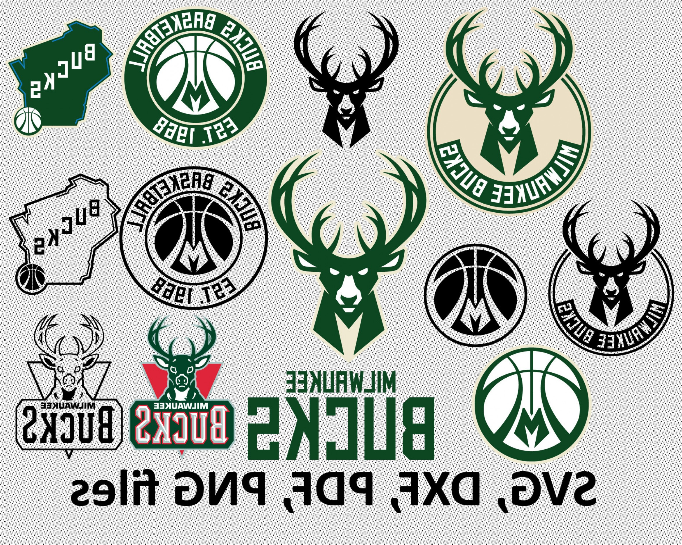 Vector NBA LogoArt: Milwaukee Bucks Svg Dxf Pdf Png Clipart