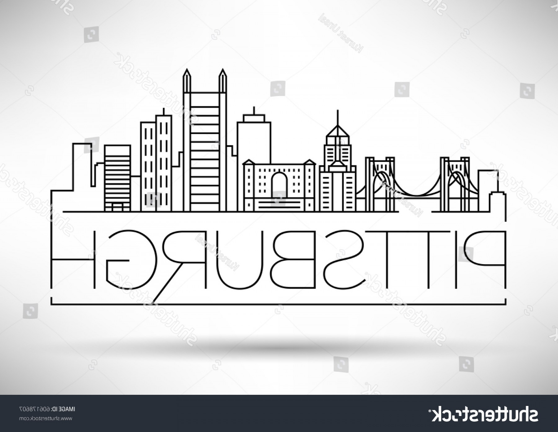 Pittsburgh City Skyline Vector: Minimal Pittsburgh Linear City Skyline Typographic