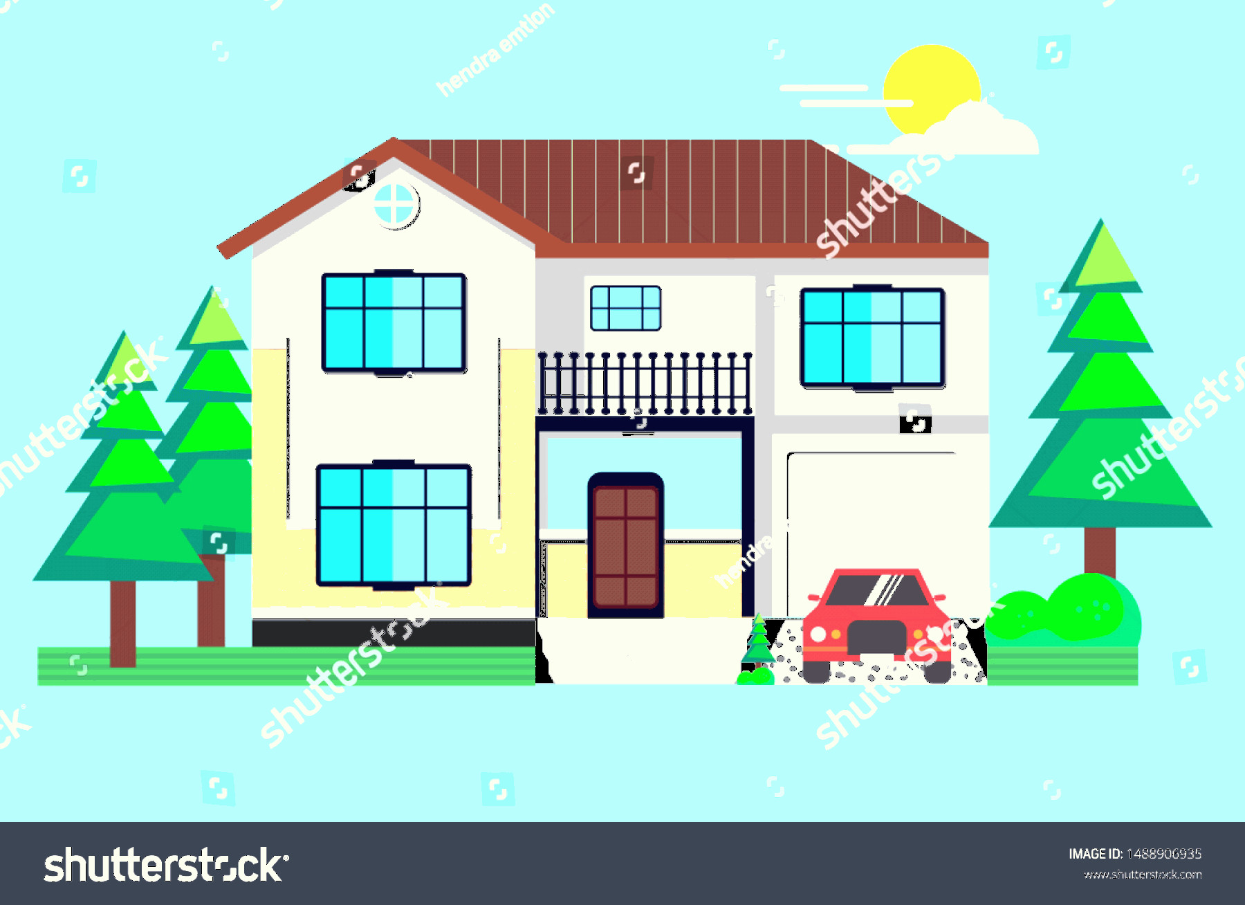 Flat Vector House: Minimalist Flat Vector House Design Simple