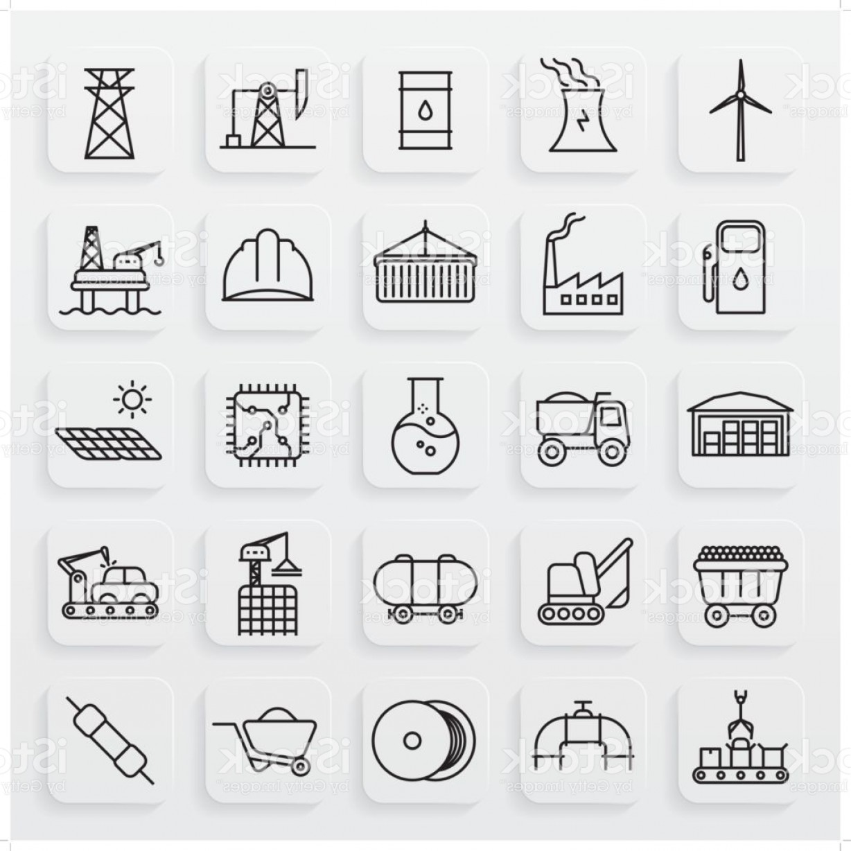 Industrial Vector Art: Minimalist Industrial Line Icon Set Gm