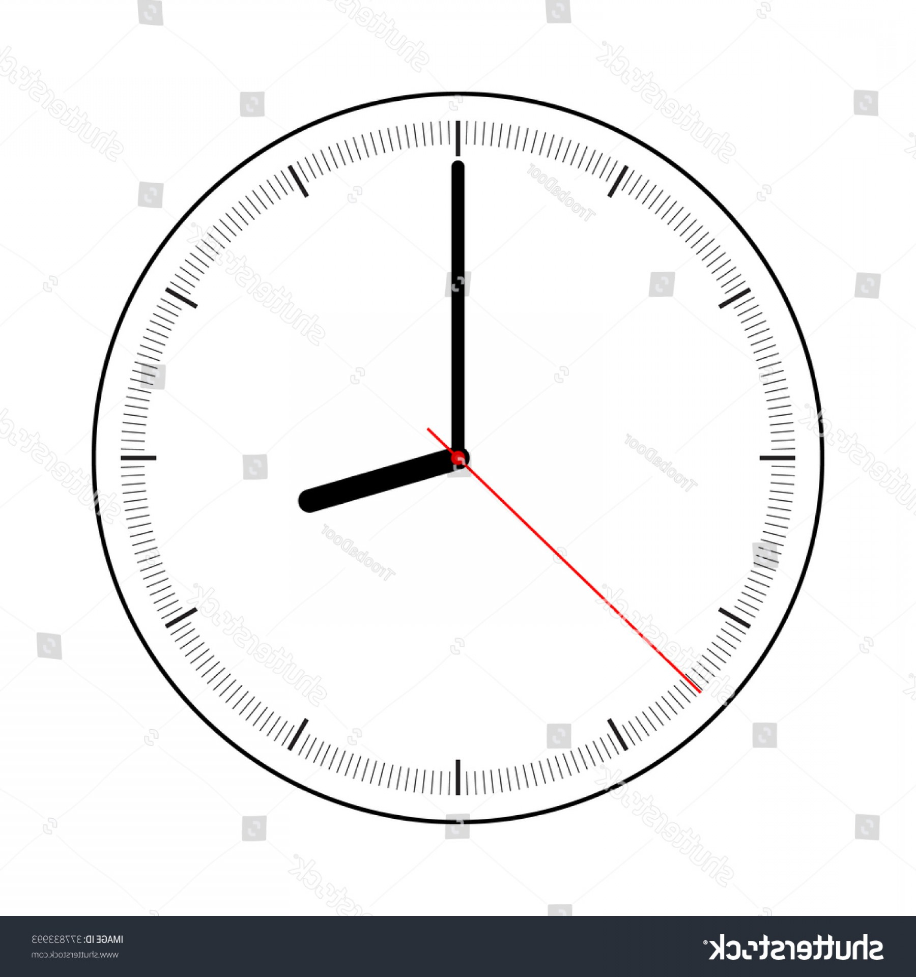 Watch Face Vector: Minimalist Simple Clock Face Watch On