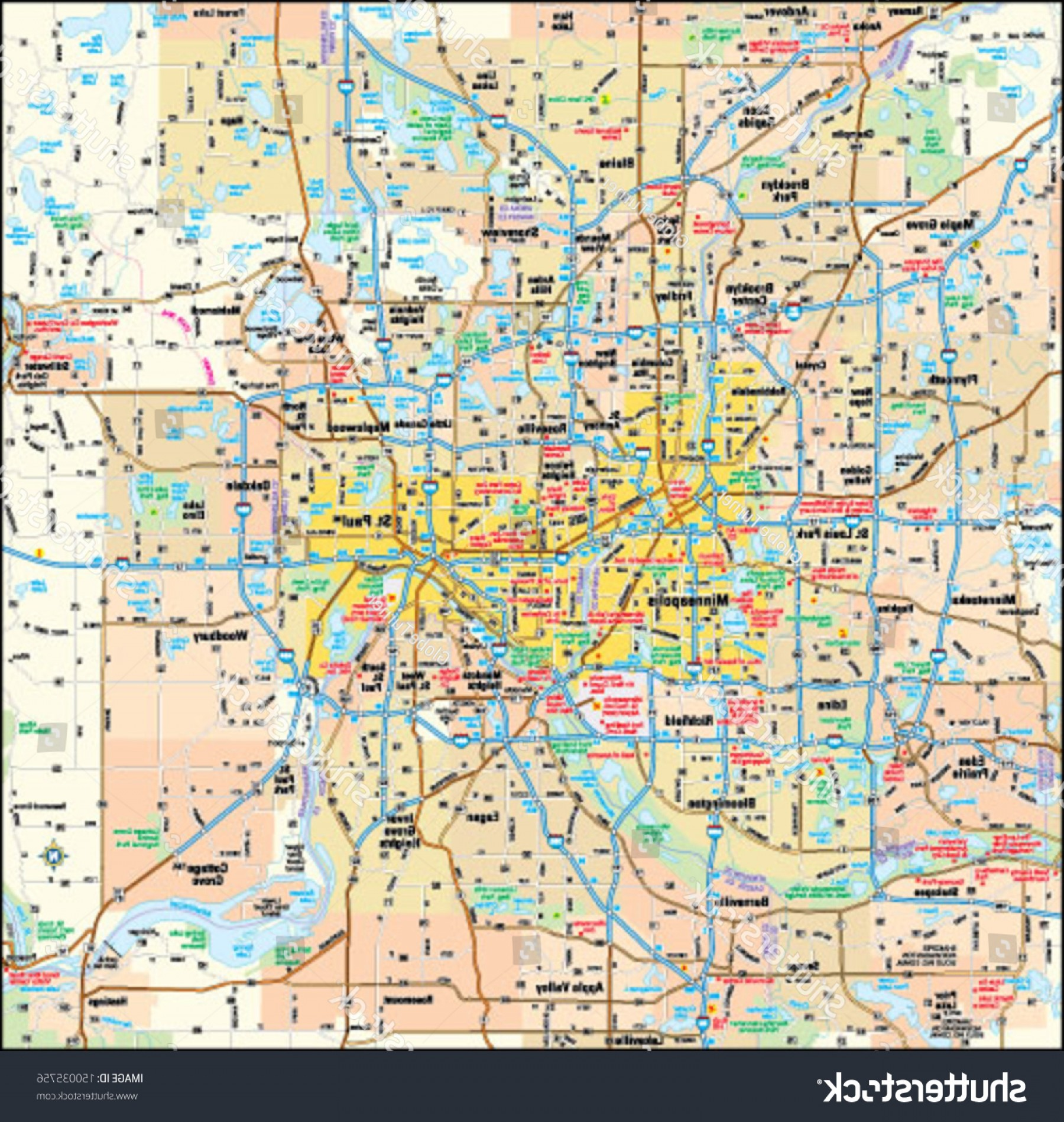 Vector Map Saint-Louis: Minneapolis St Paul Minnesota Area Map