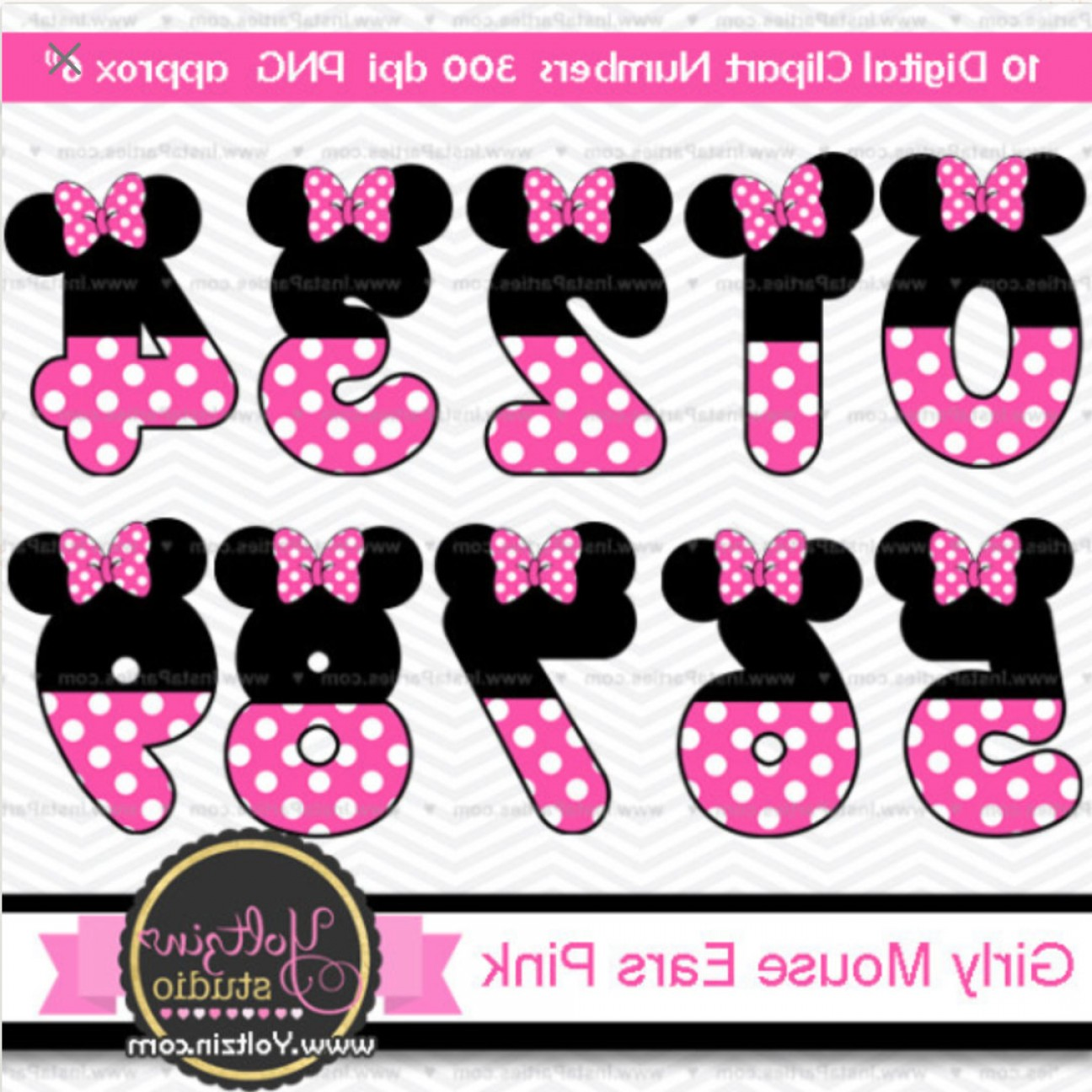 Minnie Mouse Vector Clip Art: Minnie Mouse Clipart Numbers Ears Pink