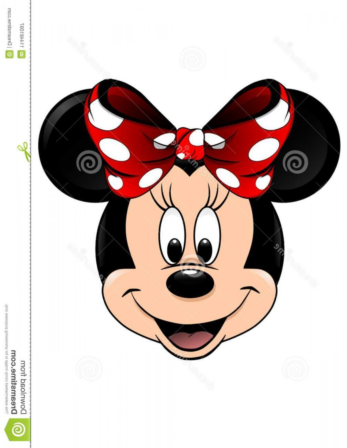 Minnie Vector Black And White: Minnie Mouse Vector Face Isolated White Background Closeup Colored Disney Character Who Smiles Big Eyes Black Round Image