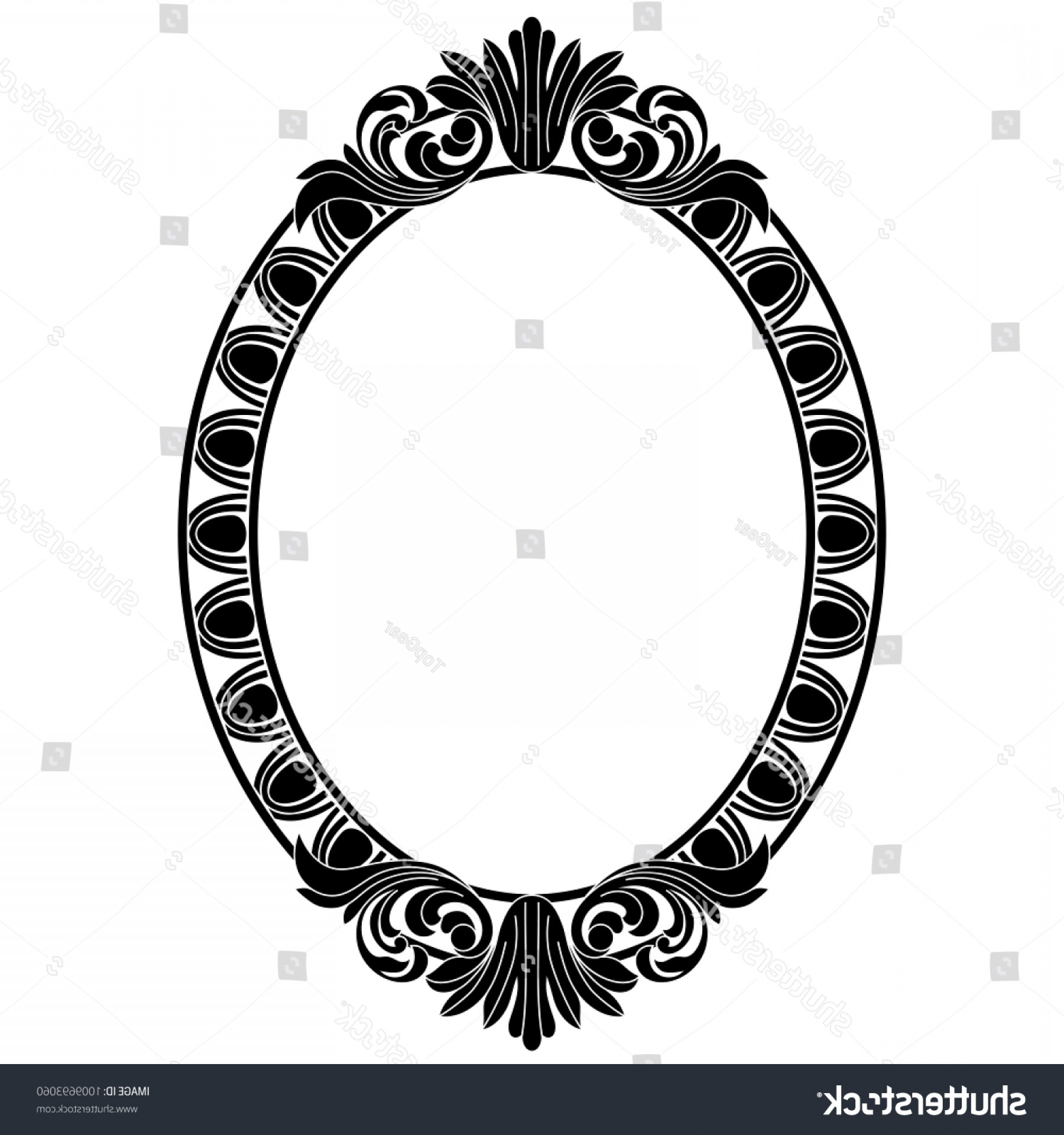 Filigree Oval Frame Vector: Mirroroval Framebaroque Vector Vintage Element Designdecorative
