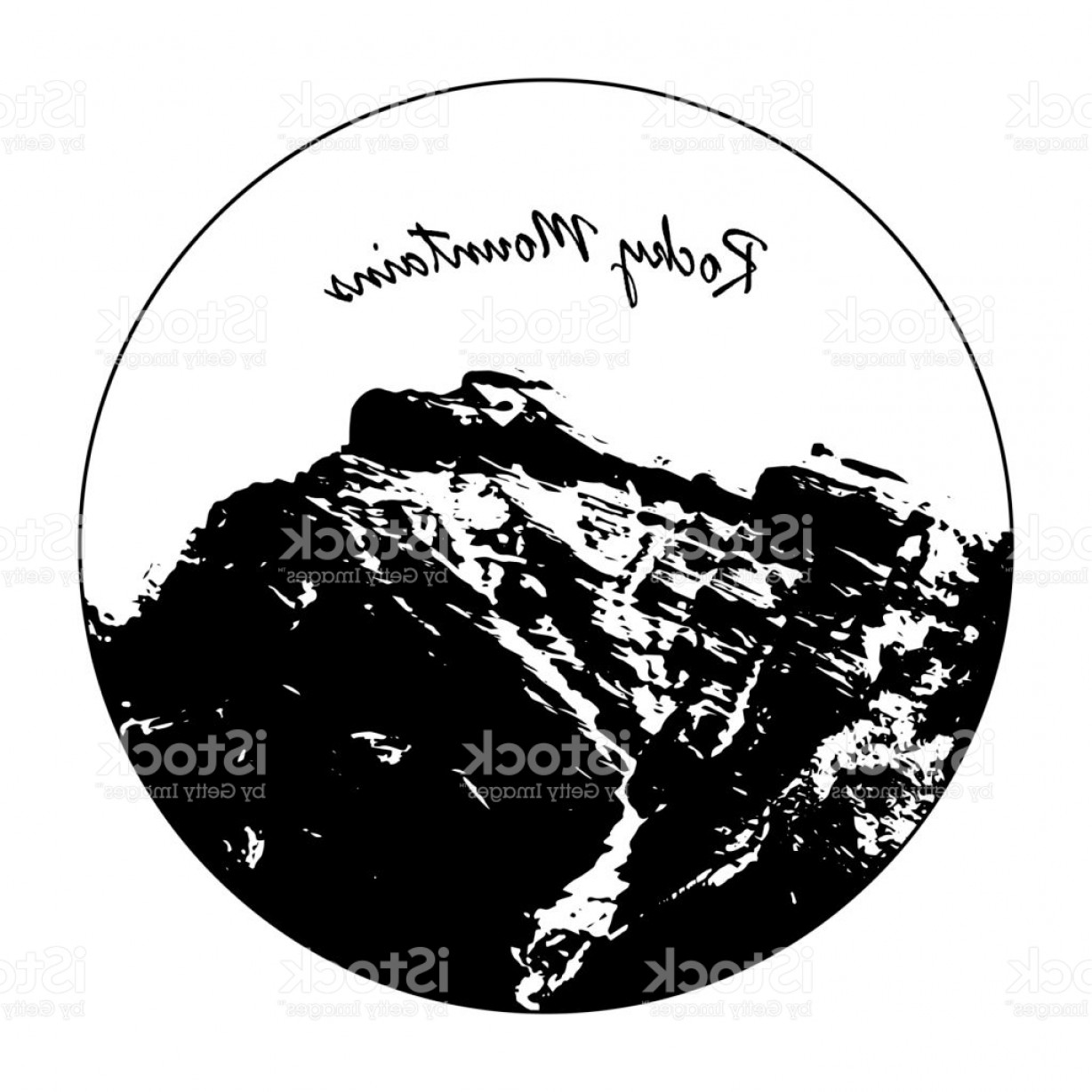 Rocky Mountain Line Art Vector: Miss Cascade Mountain In A Circle With Rocky Mountains Text Gm