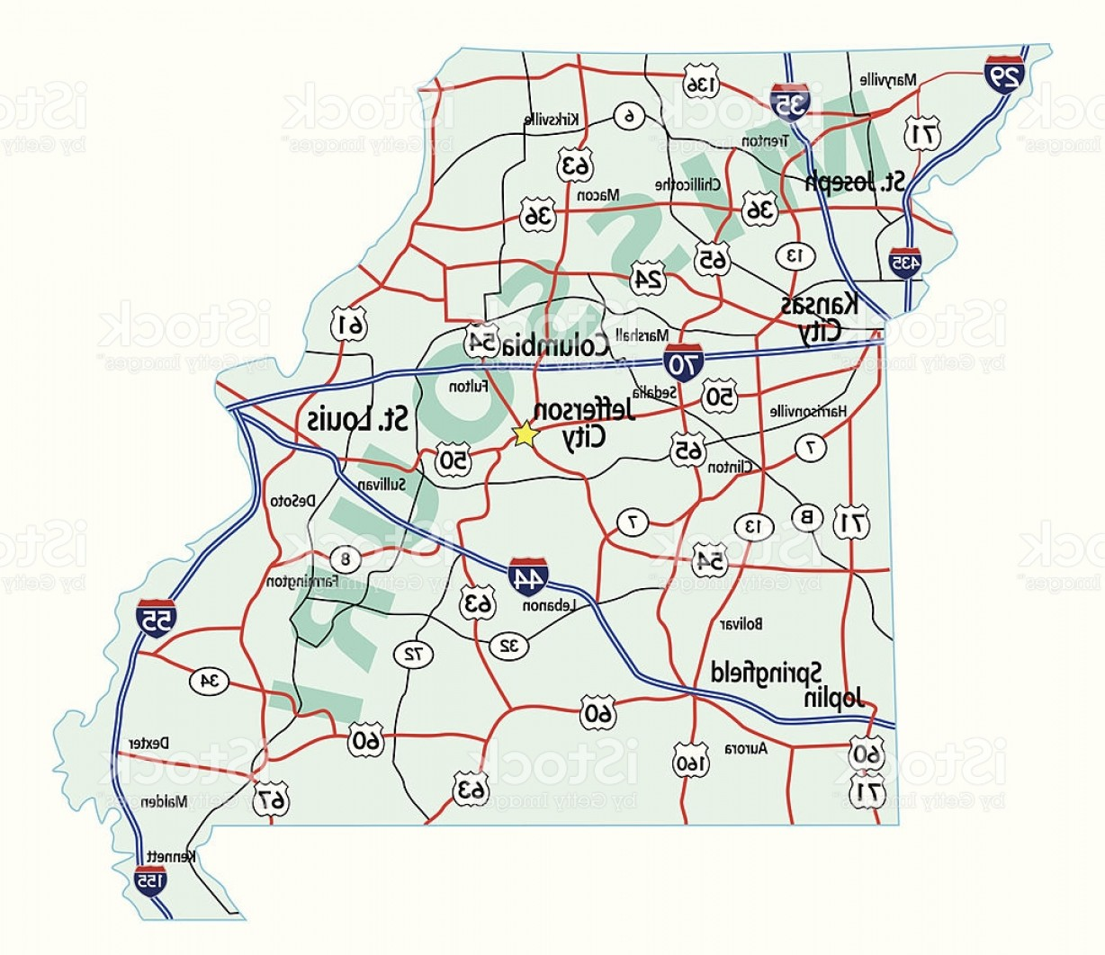 Vector Map Saint-Louis: Missouri State Interstate Map Gm