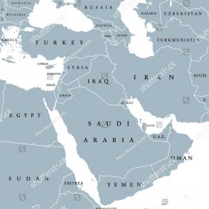 Vector Western Borders: Middle East Political Map Borders English