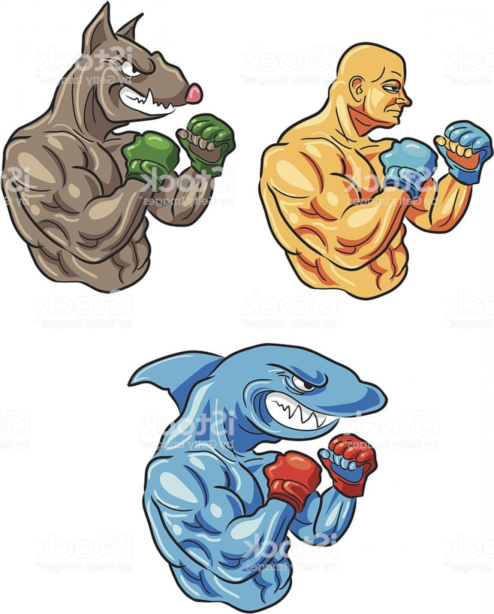 Bull Shark Jaws Vector Art: Mma Fighters Pit Bull Shark Human Gm