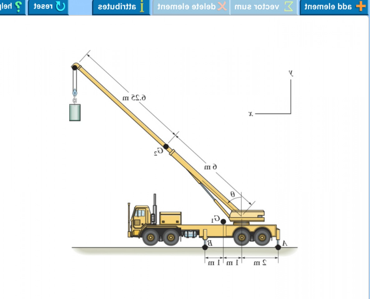Adding Two Vectors Engineering: Mobile Crane Symmetrically Supported Two Outriggers Two B Order Relieve Suspension Truck U Q