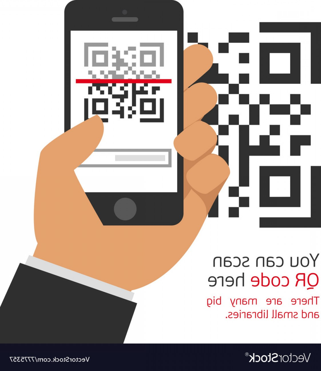 QR Mobile Phone Vector: Mobile Phone Reads The Qr Code Vector