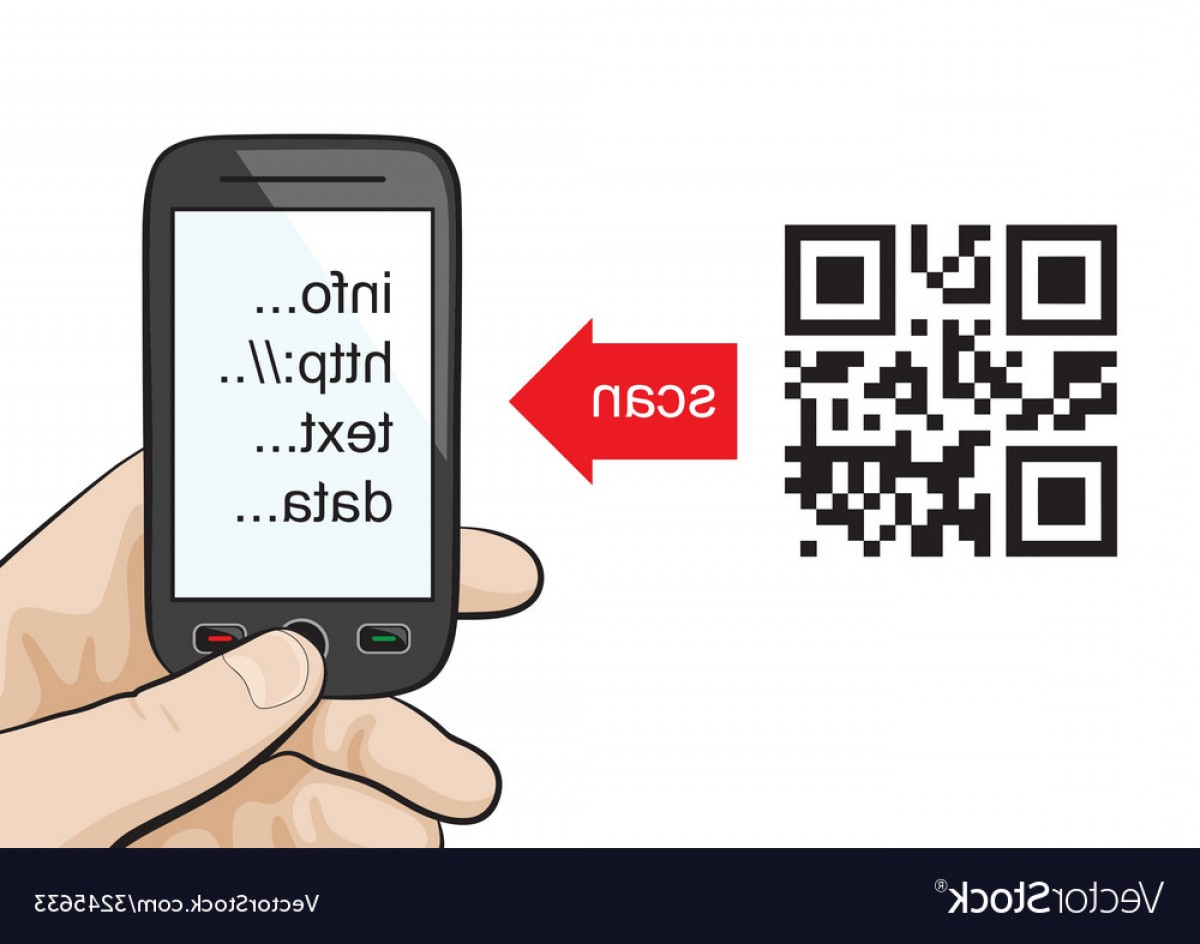 QR Mobile Phone Vector: Mobile Phone Scanning Qr Code Vector