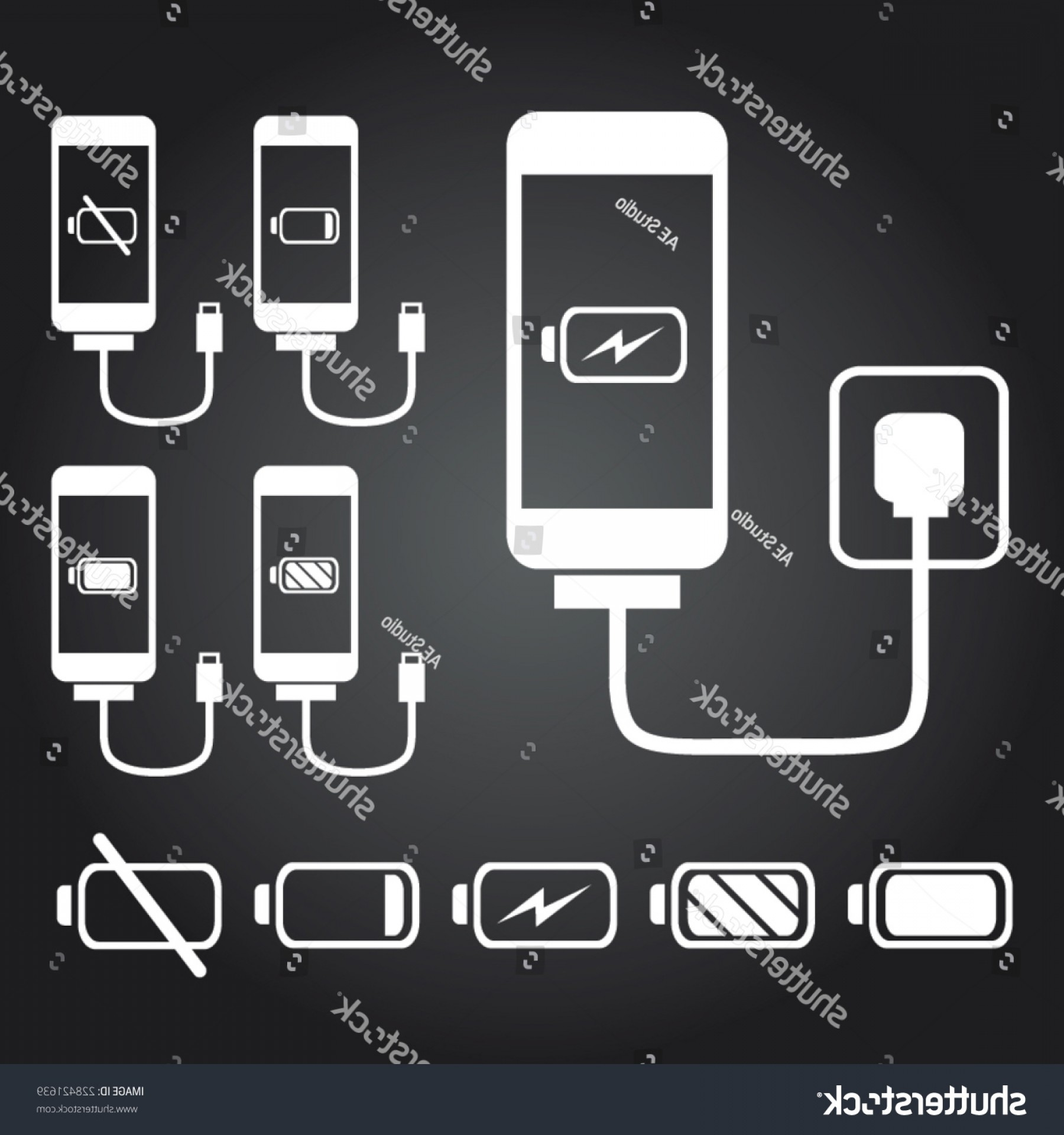 IPhone Battery Vector Icons: Mobile Phone Smart Iphone Charge Battery