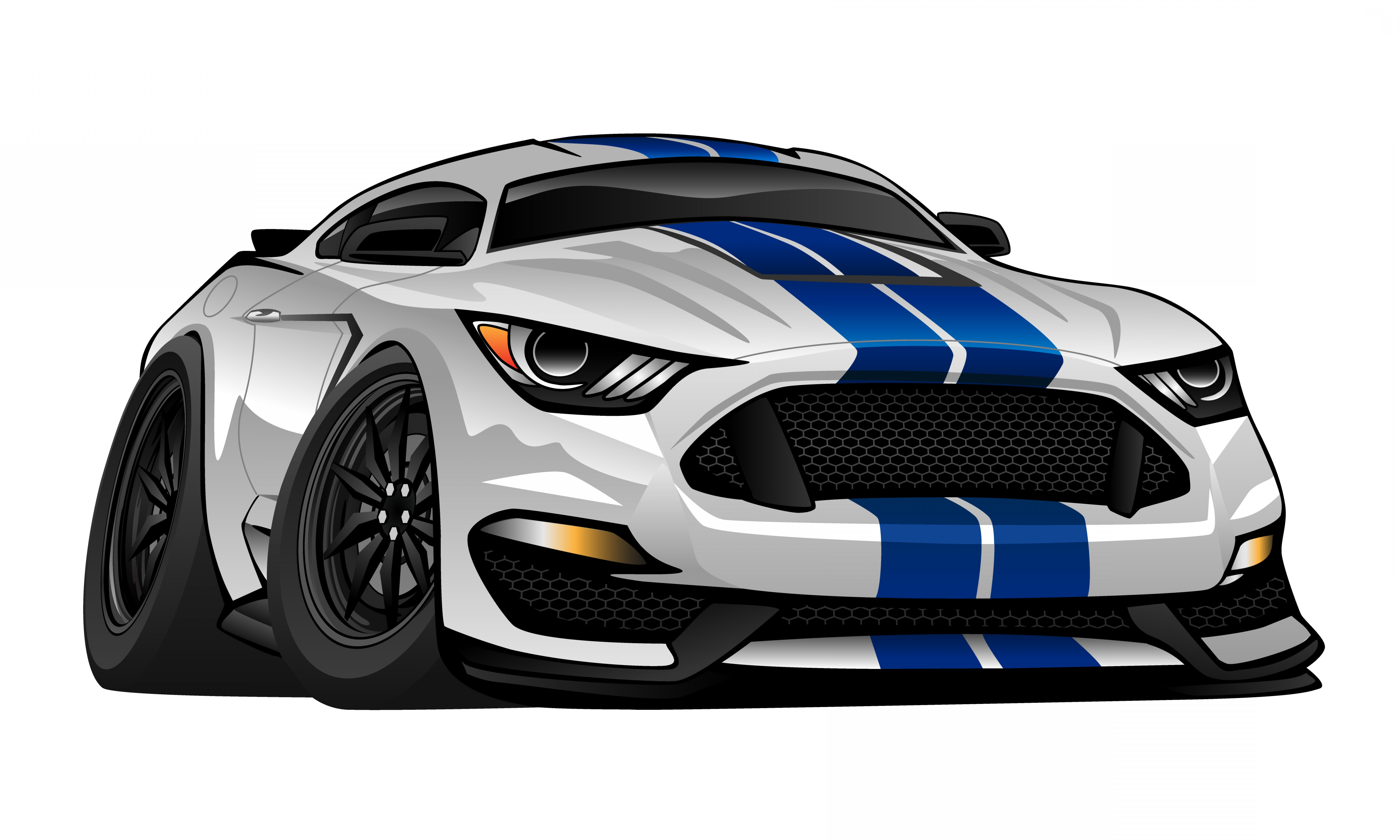 Custom Police Cars Vector: Modern American Muscle Car Cartoon Vector Illustration