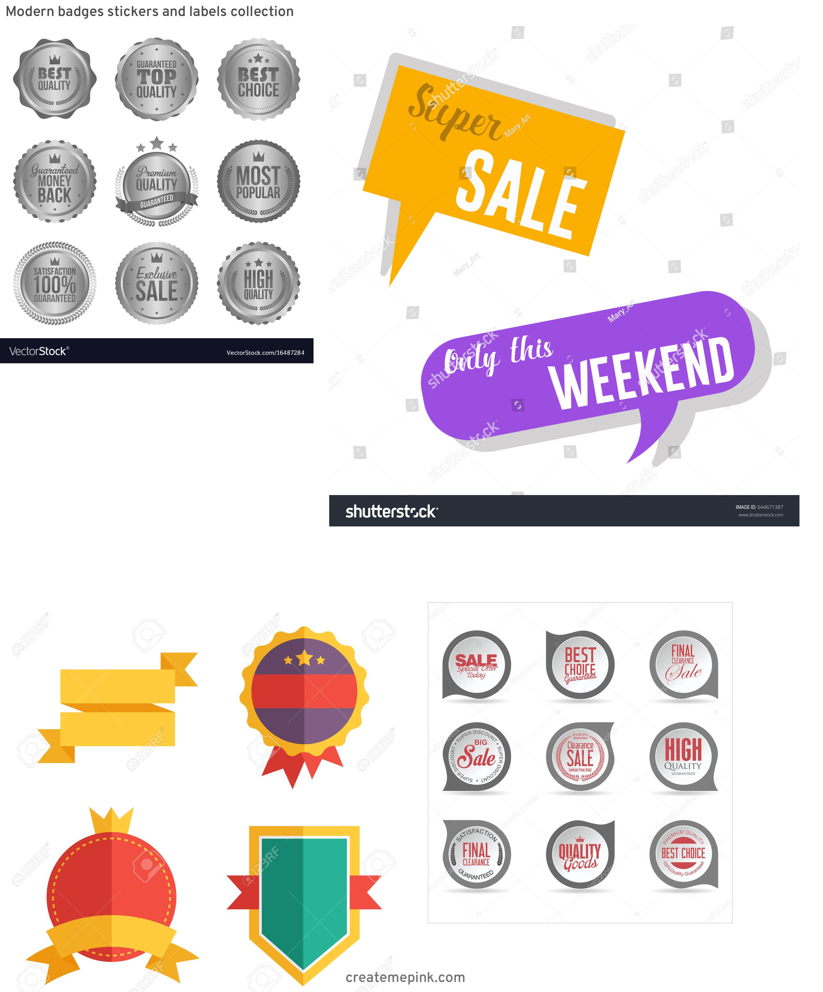 Modern Vector Badges: Modern Badges Stickers And Labels Collection