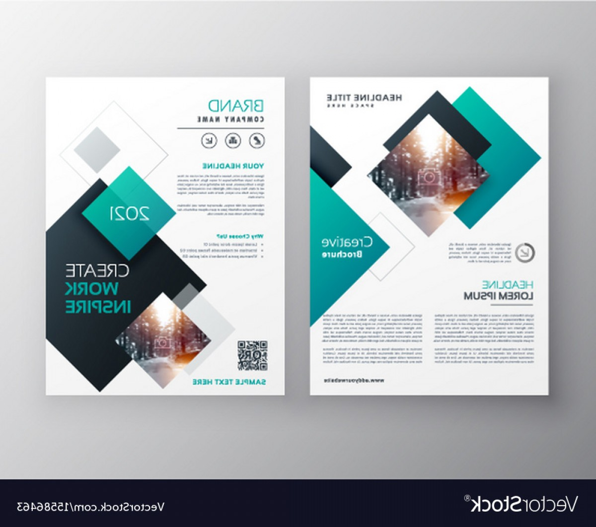 Vector Brochure Cover Designs: Modern Blue Brochure Cover Design Annual Report Vector