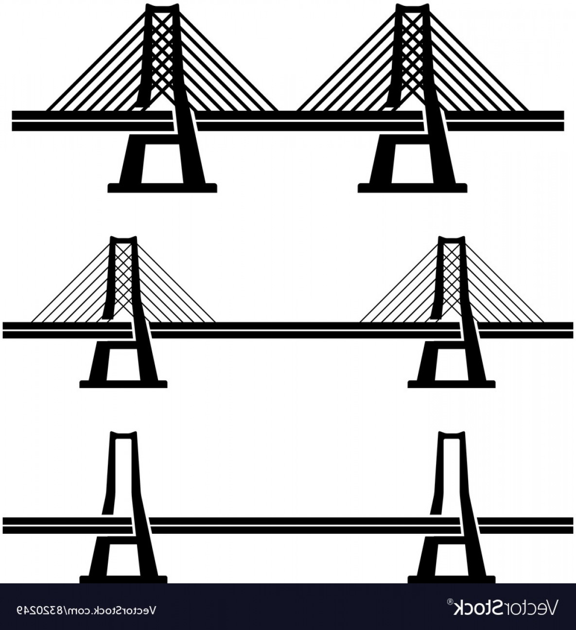 Suspension Bridge Vector: Modern Cable Suspension Bridge Black Symbol Vector