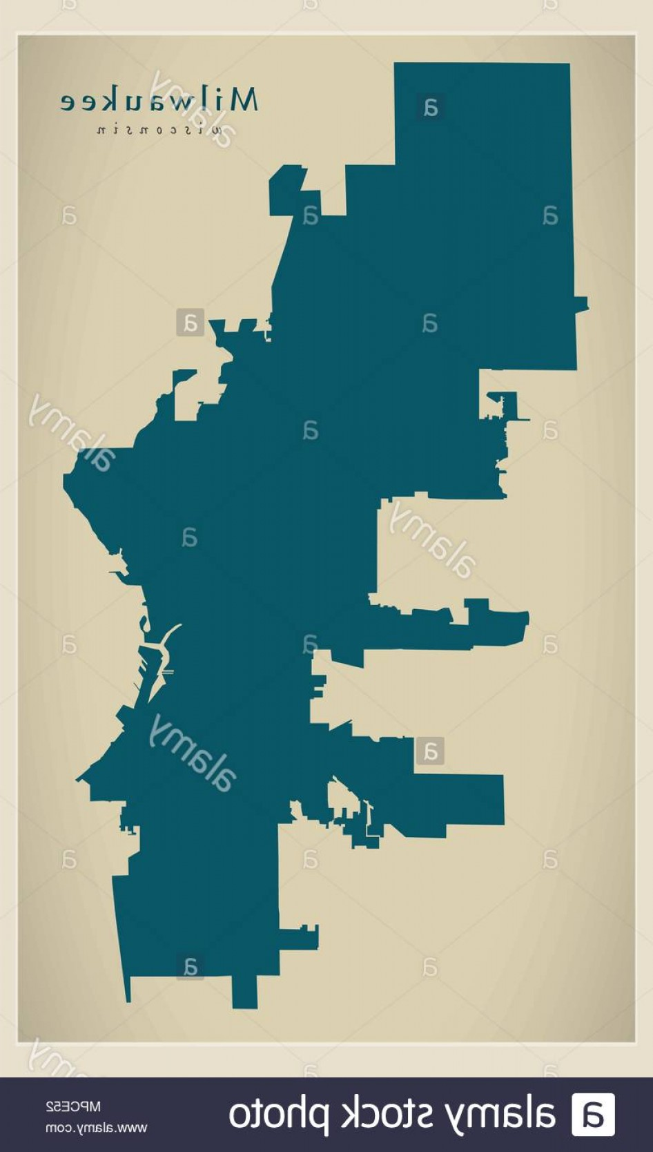 WI County Map Vector: Modern City Map Milwaukee Wisconsin City Of The Usa Image