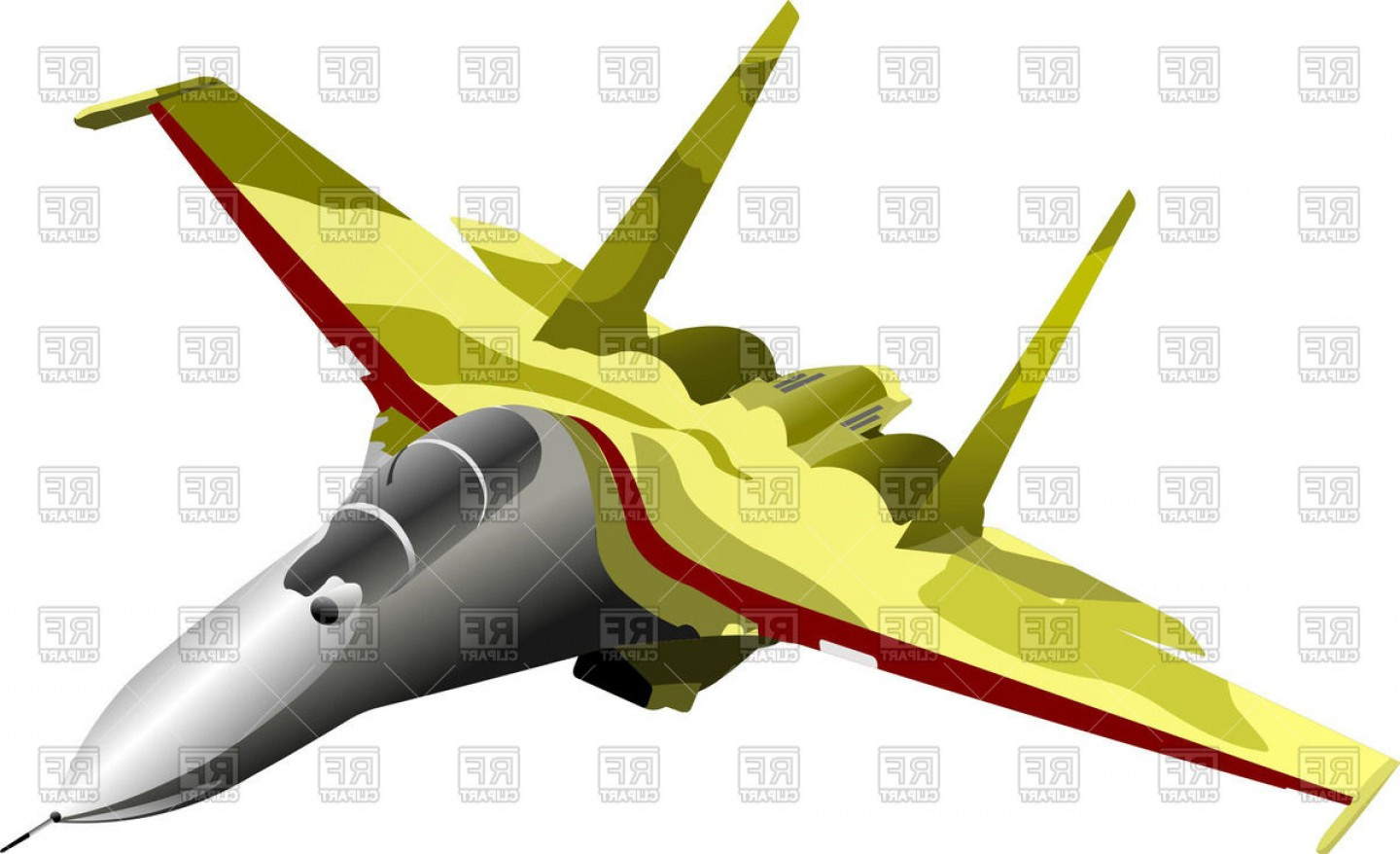 Vector Jet Fighter: Modern Combat Aircraft Top View Of Fighter Vector Clipart