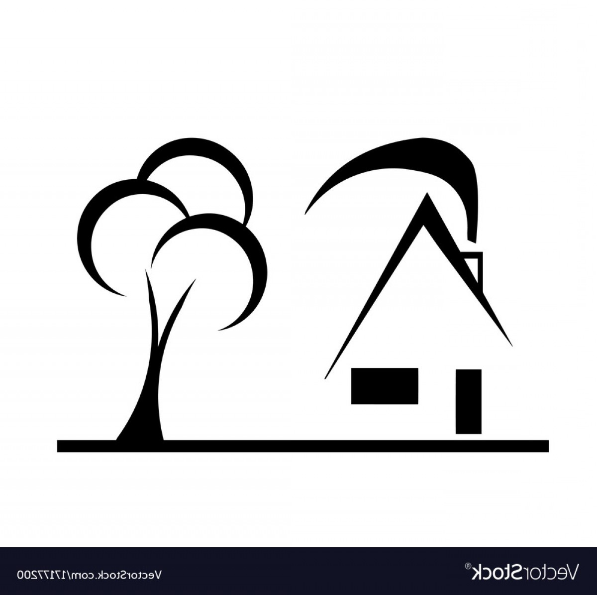 Vector Modern Tree House: Modern Design House Sketch With Tree Vector