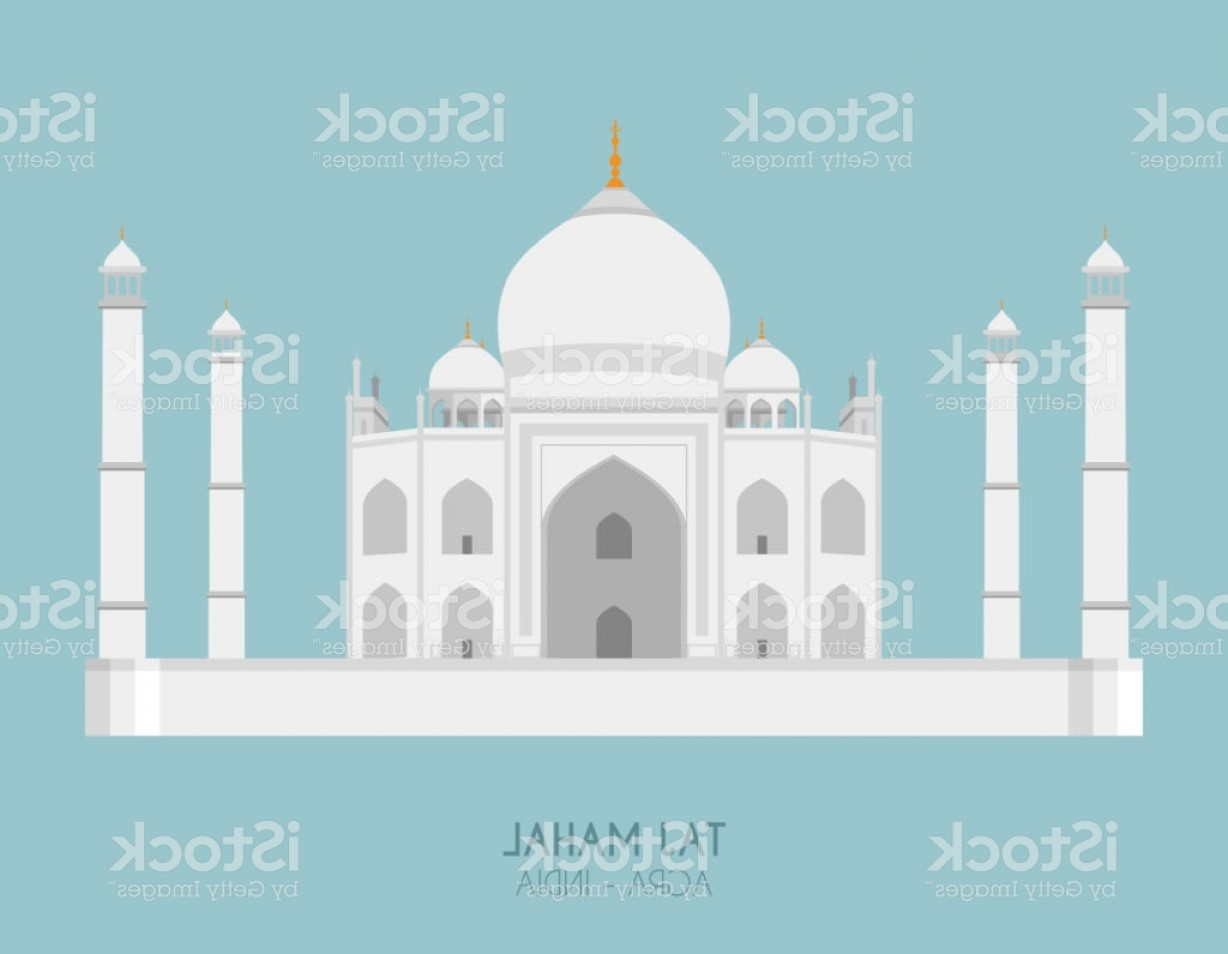 Taj Mahal Vector: Modern Design Poster With Colorful Background Of Taj Mahal Vector Illustration Gm