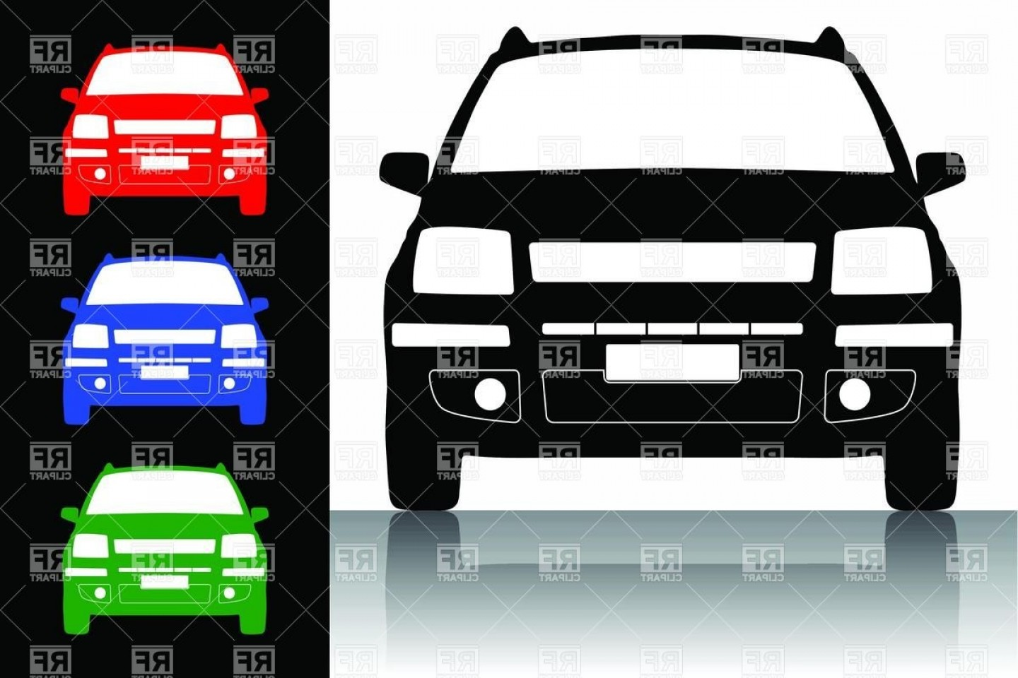Car Silhouette Vector Free: Modern Economy Car Silhouette Front View Vector Clipart
