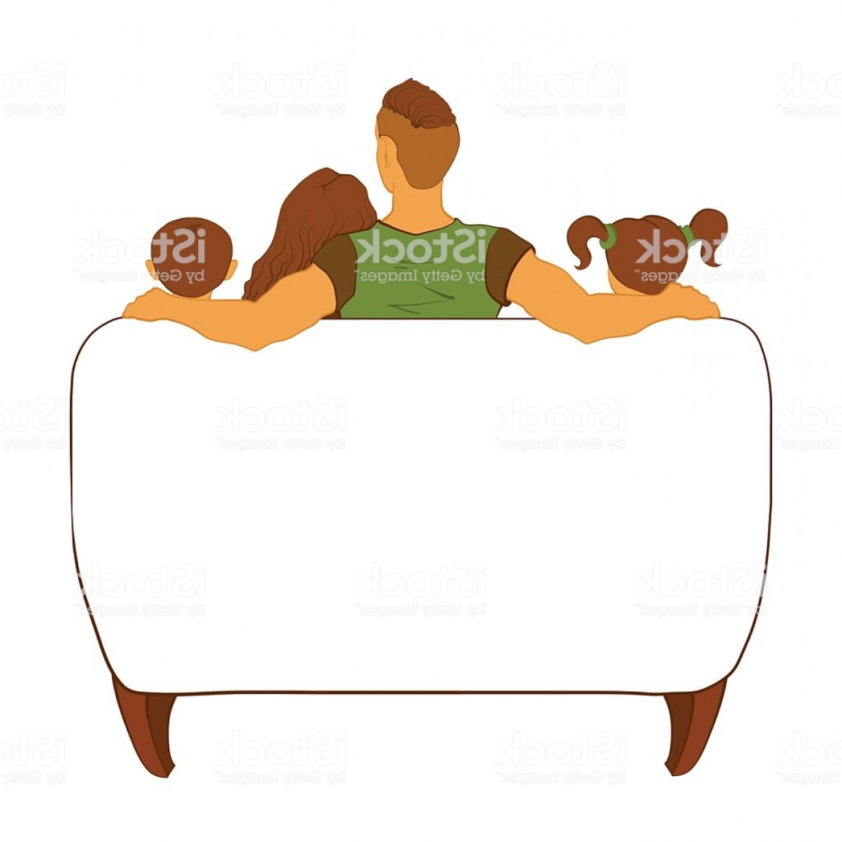 Back Of The Couch Vector: Modern Family Watching Tv On A Couch Gm
