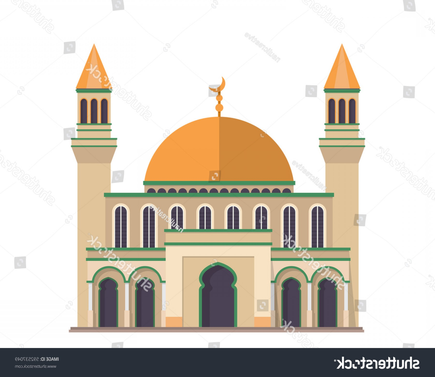 Mosque Vector Map: Modern Flat Elegant Islamic Mosque Building