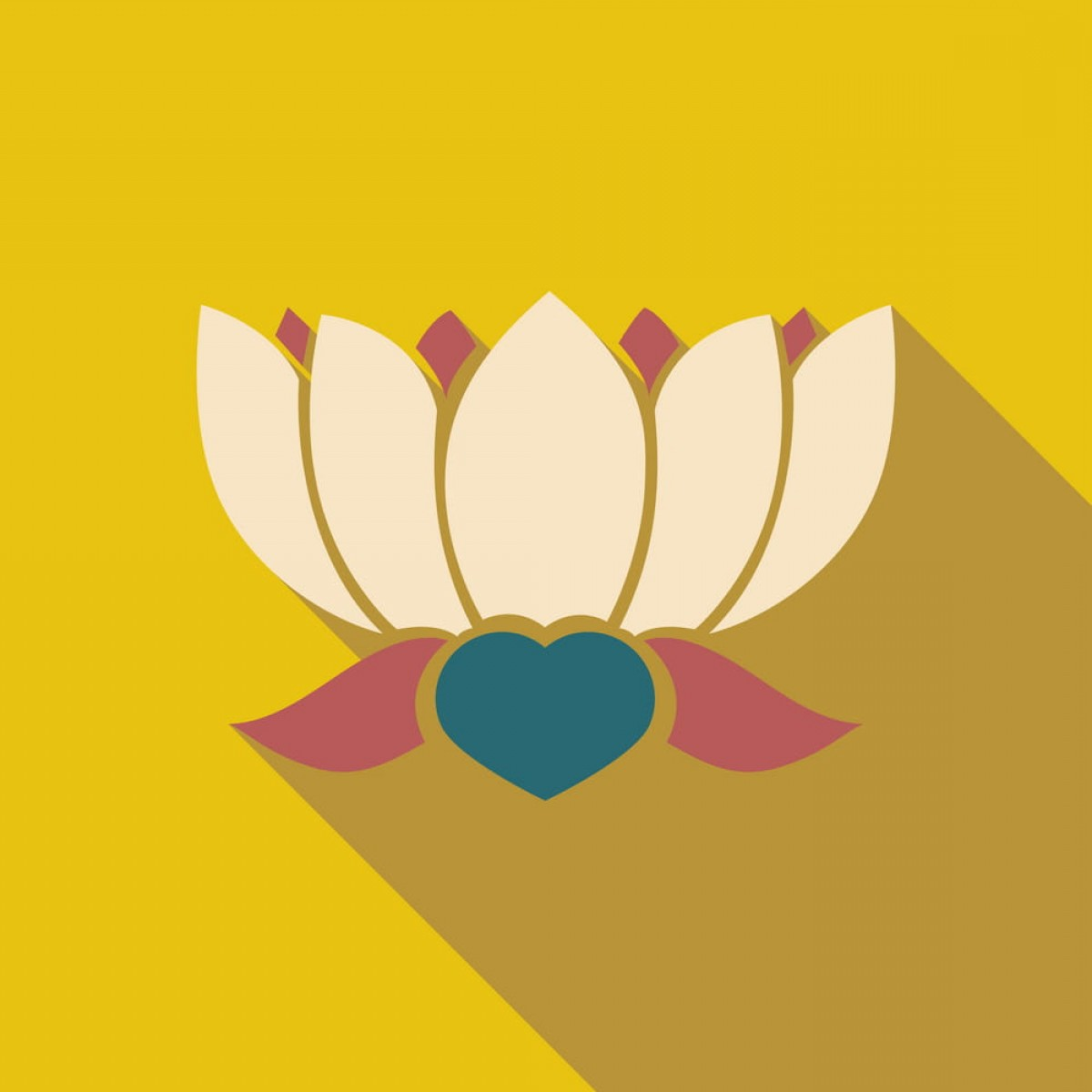 Vector Art Indian Lotus: Modern Flat Icon With Long Shadow Indian Lotus Vector Ai Eps File