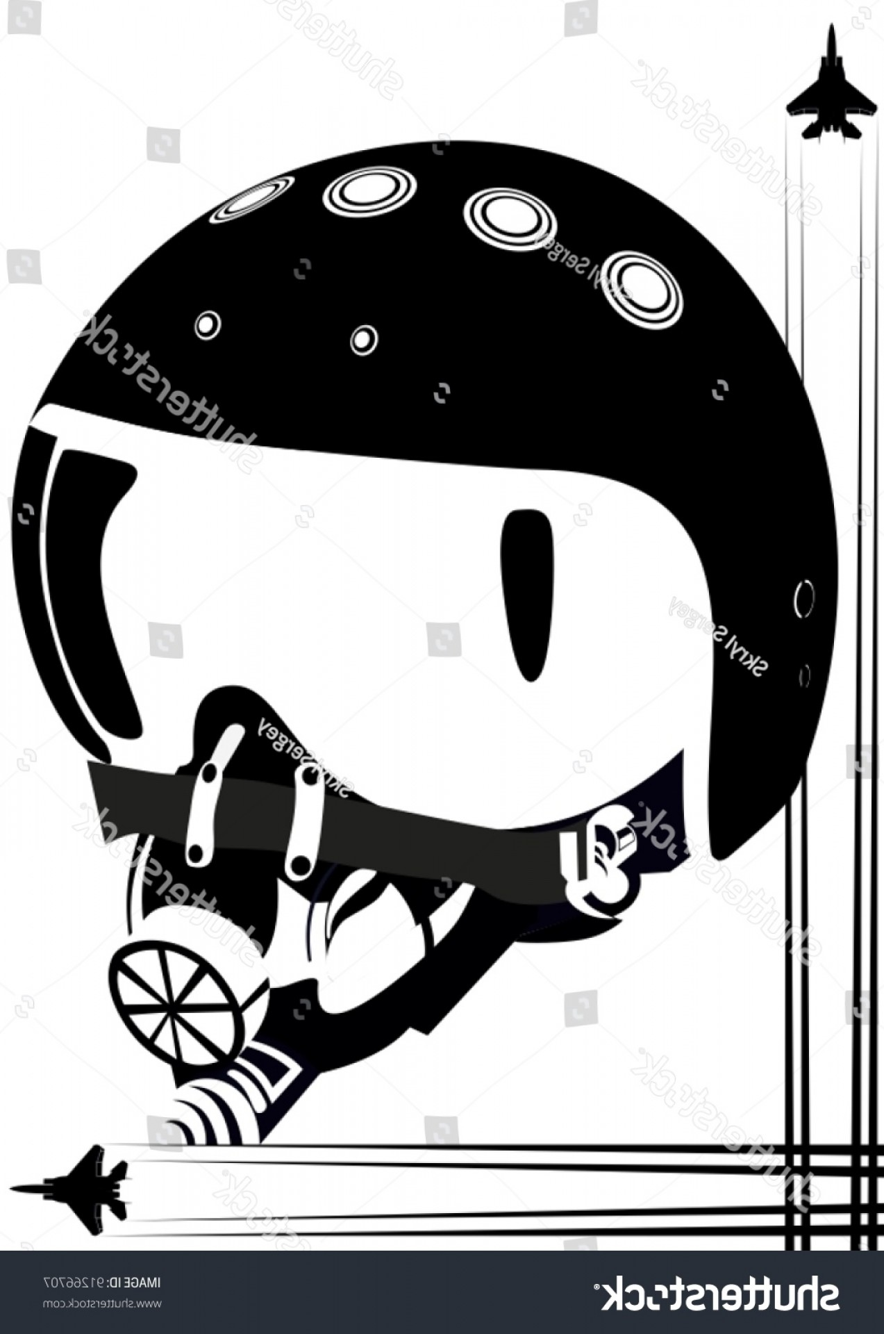 Fighter Helmet Vectors: Modern Helmet Fighter Pilot Black White