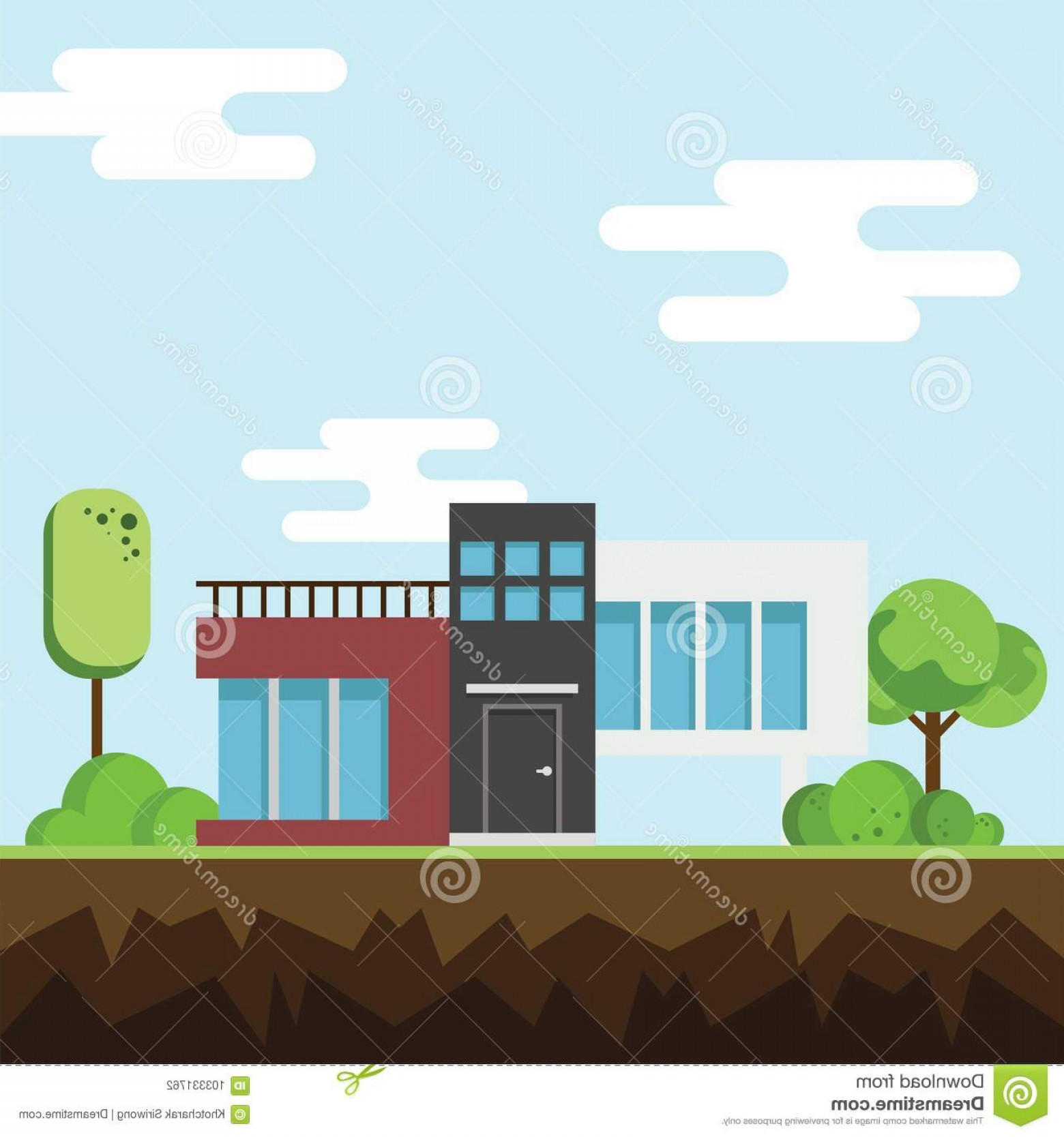 Vector Modern Tree House: Modern Houses Tree Clouds Ground Building Architecture Flat Home Vector Illustration Image