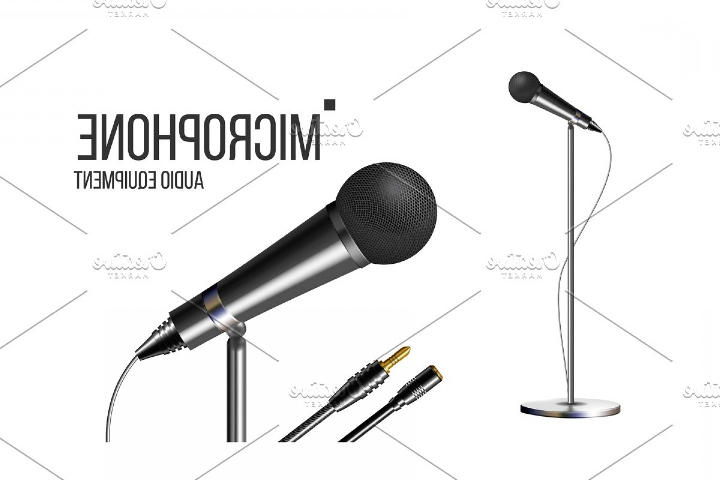 Microphone Recording Vector: Modern Microphone With Stand Vector