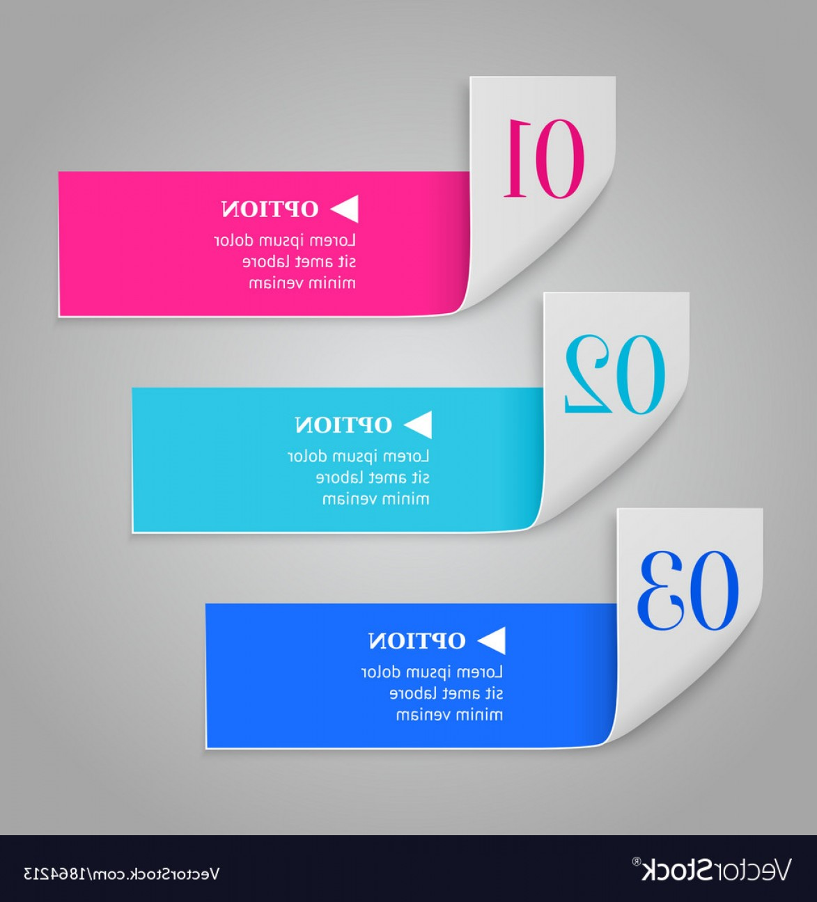 Numbered Tab Vectors In Blue: Modern Numbered Options Banners Vector