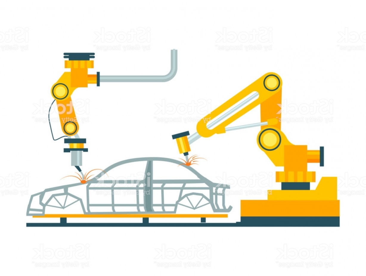 Auto Mobile Vector Art: Modern Robotic Car Manufacturing Process Gm